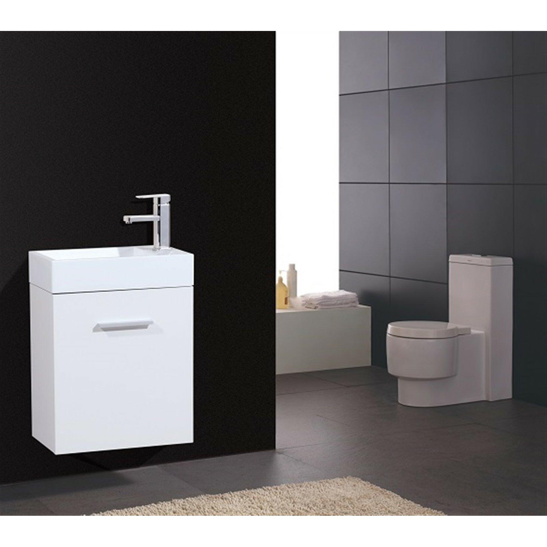 Kube bath bliss 18 single wall mount modern bathroom - Contemporary bathroom vanity sets ...