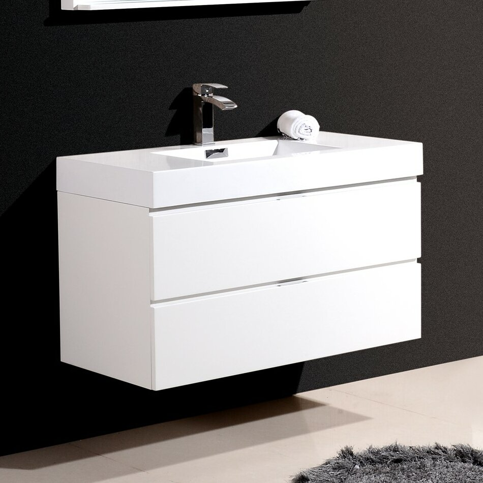 Kube bath bliss 40 single wall mount modern bathroom for Bath and vanity set
