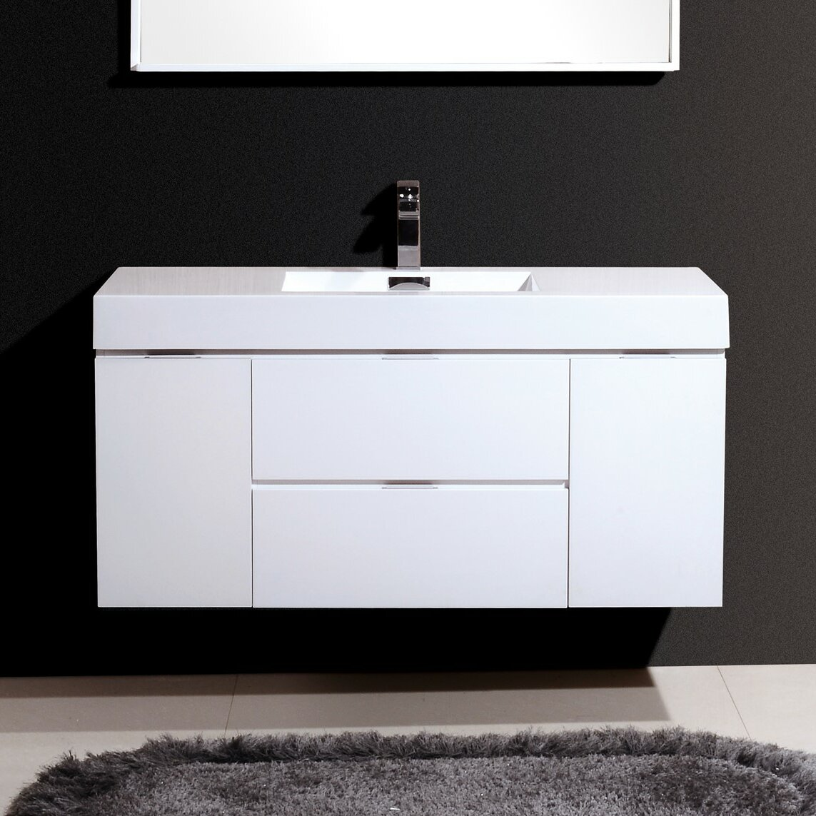 Kube bath bliss 48 single wall mount modern bathroom vanity set reviews wayfair - Kona modern bathroom vanity set ...