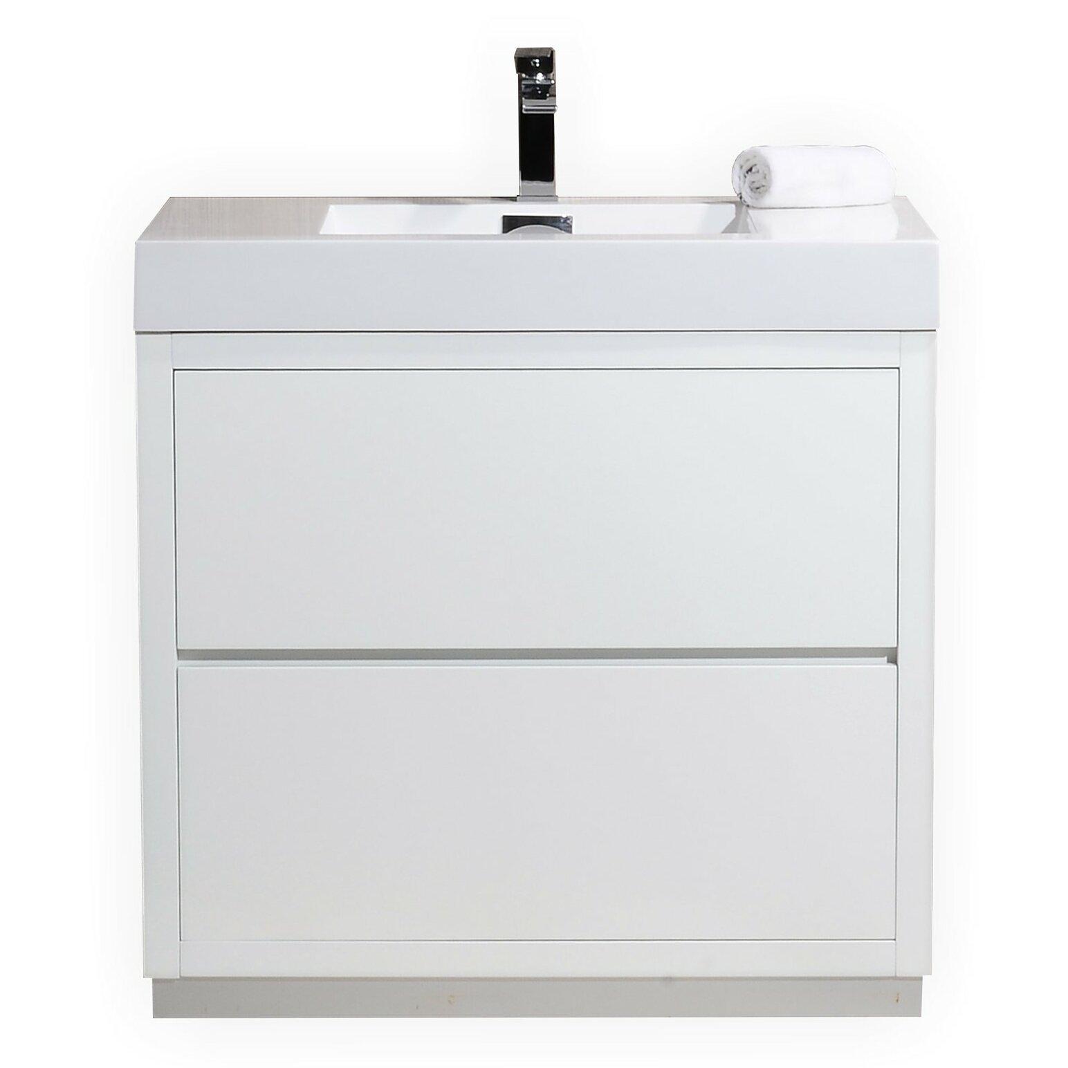 Kube bath bliss 36 single free standing modern bathroom vanity set wayfair for Free standing bathroom vanities