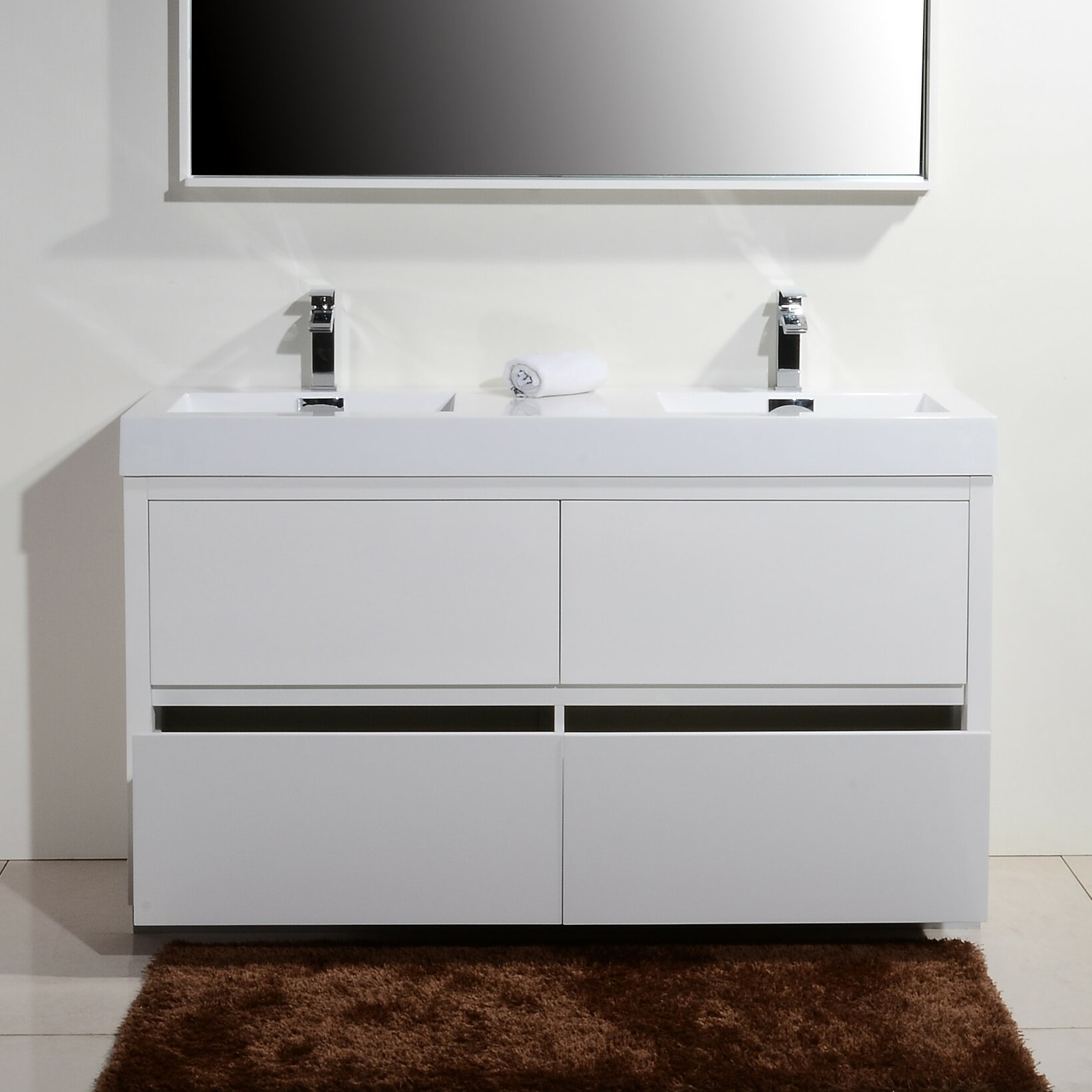 Kube Bath Bliss 60 Double Free Standing Modern Bathroom Vanity Set Wayfair