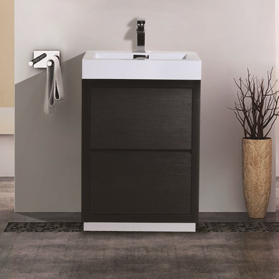 Kube bath bliss 24 single free standing modern bathroom vanity set reviews wayfair for Freestanding 24 inch bathroom vanity