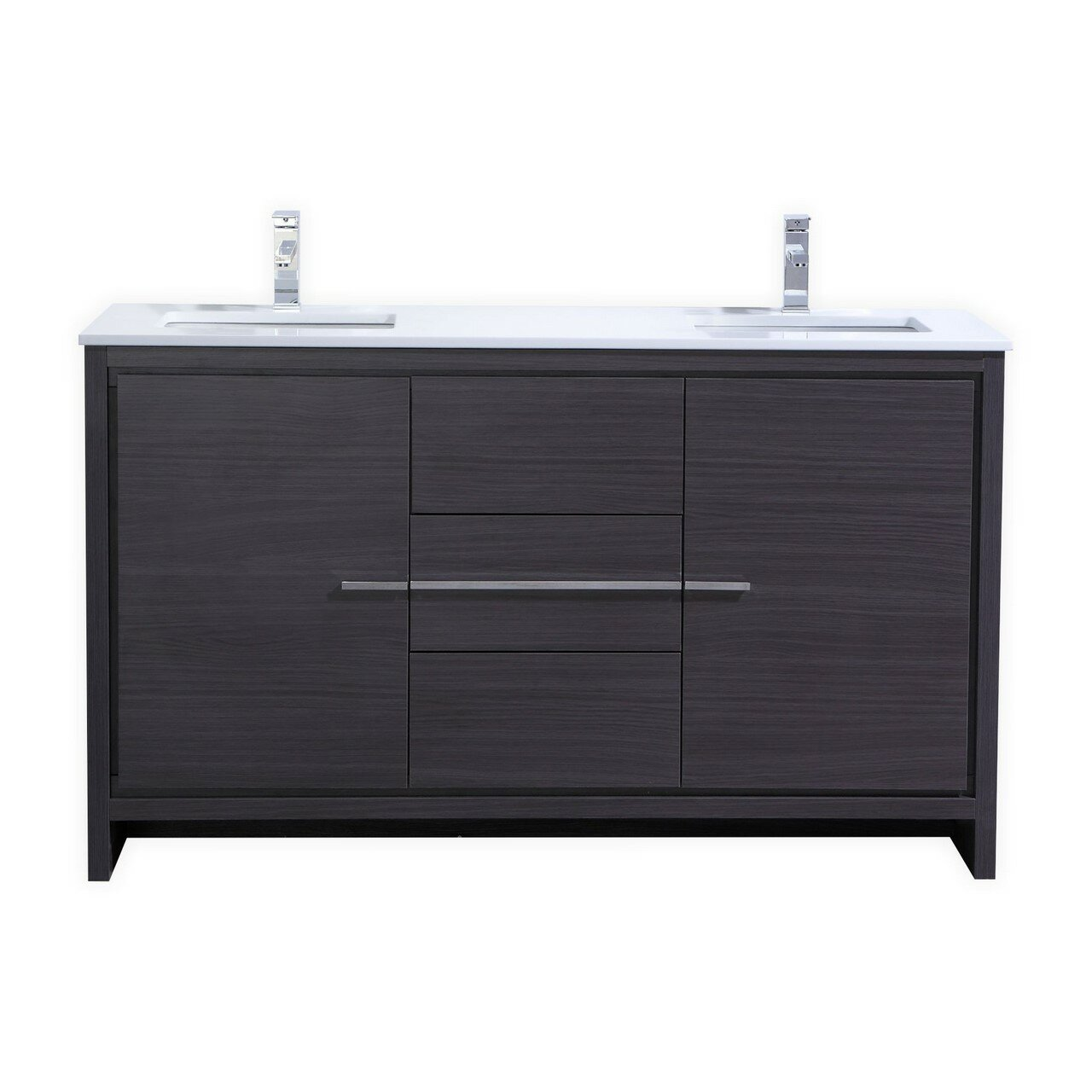 Kube bath dolce 60 double sink modern bathroom vanity - Contemporary double sink bathroom vanity ...