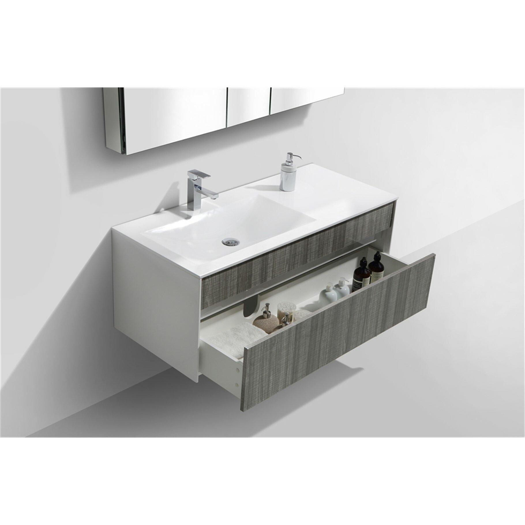 Kube bath tona fitto 48 single modern bathroom vanity set reviews wayfair - Linden modern bathroom vanity set ...