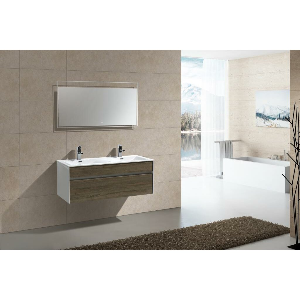 Kube bath tona fitto 48 double sink modern bathroom vanity set reviews wayfair - Kona modern bathroom vanity set ...