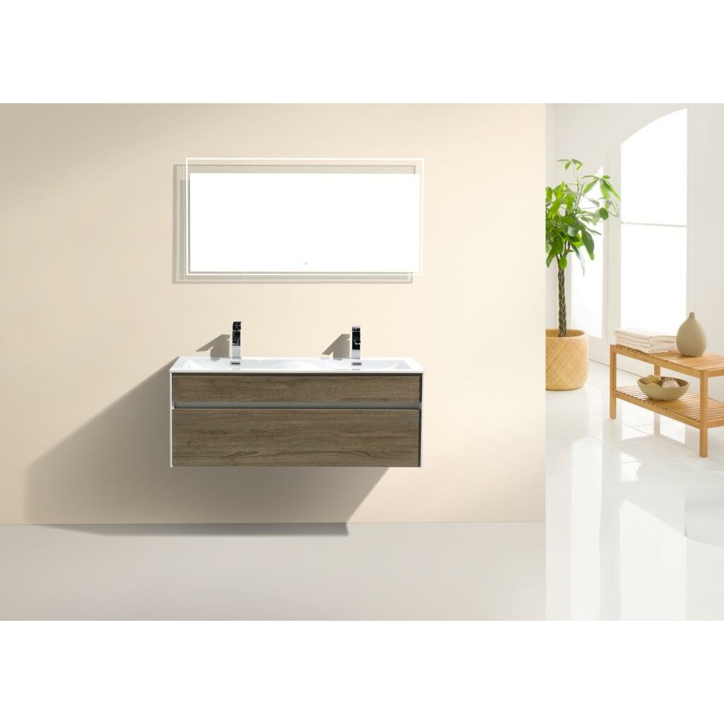 Kube bath tona fitto 48 double sink modern bathroom vanity set reviews wayfair - Modern bathroom vanity double sink ...