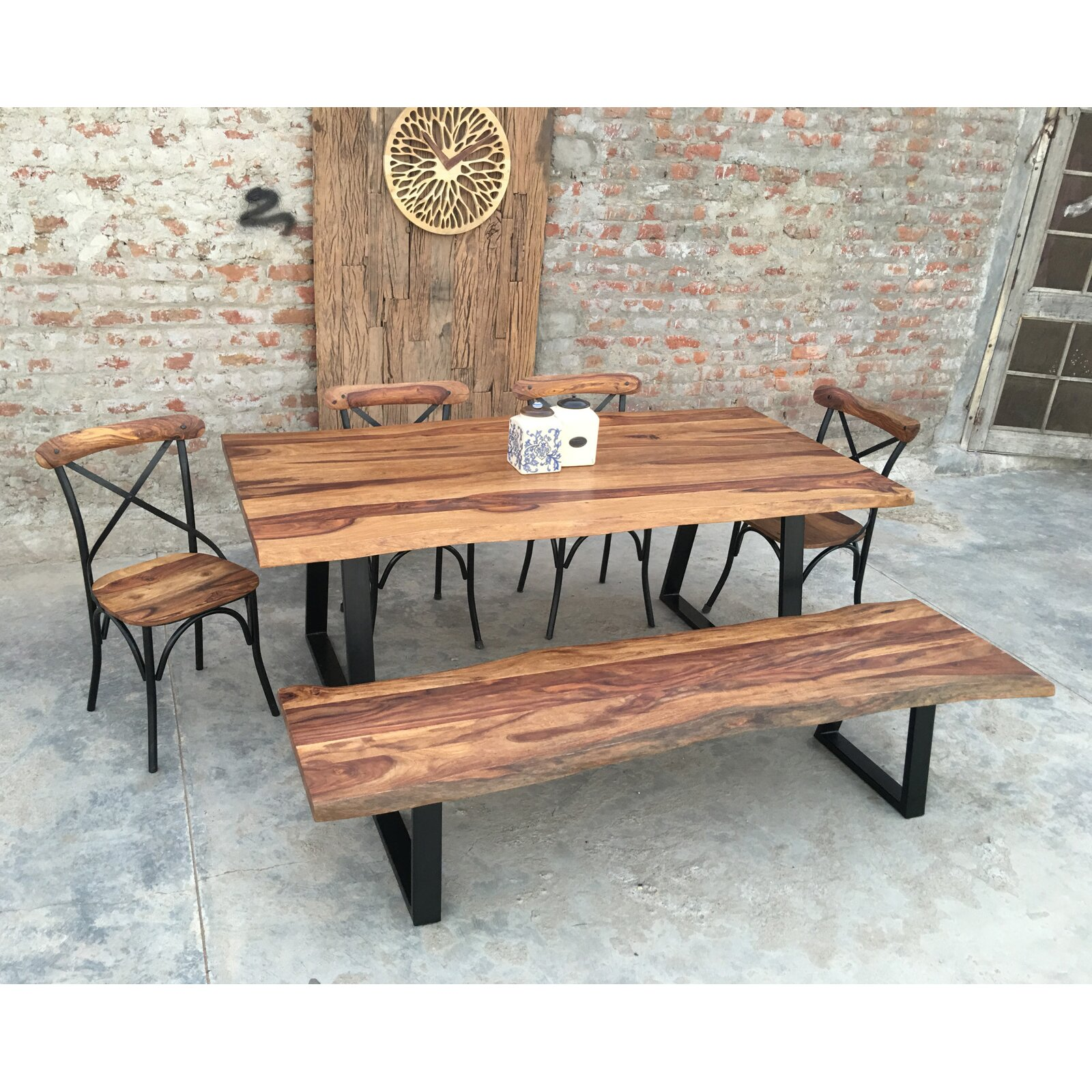 Urban furnishings rustic 6 piece dining set wayfair for Rustic dining table set