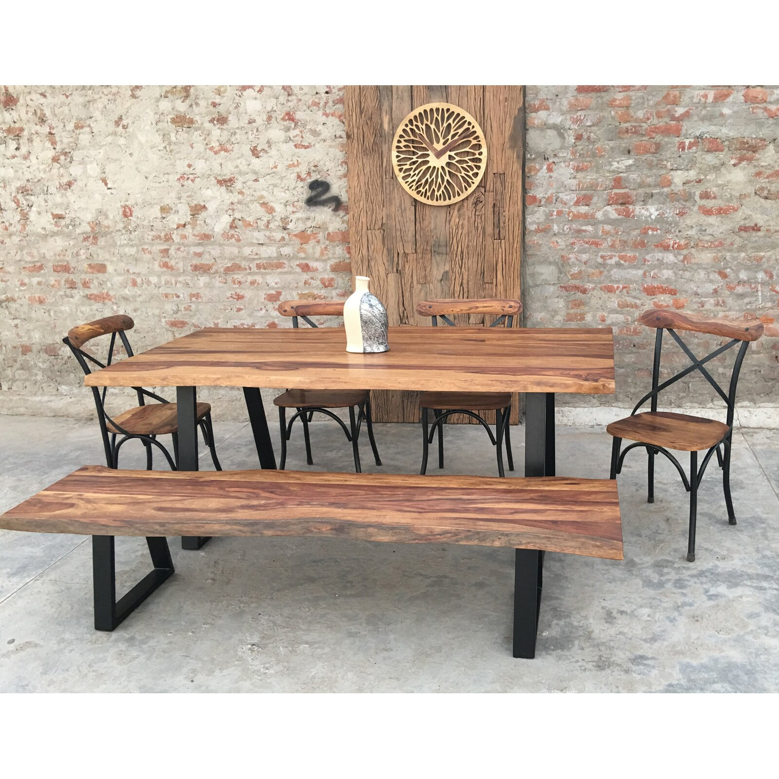 Urban furnishings rustic 6 piece dining set wayfair for Dining room sets 6 piece