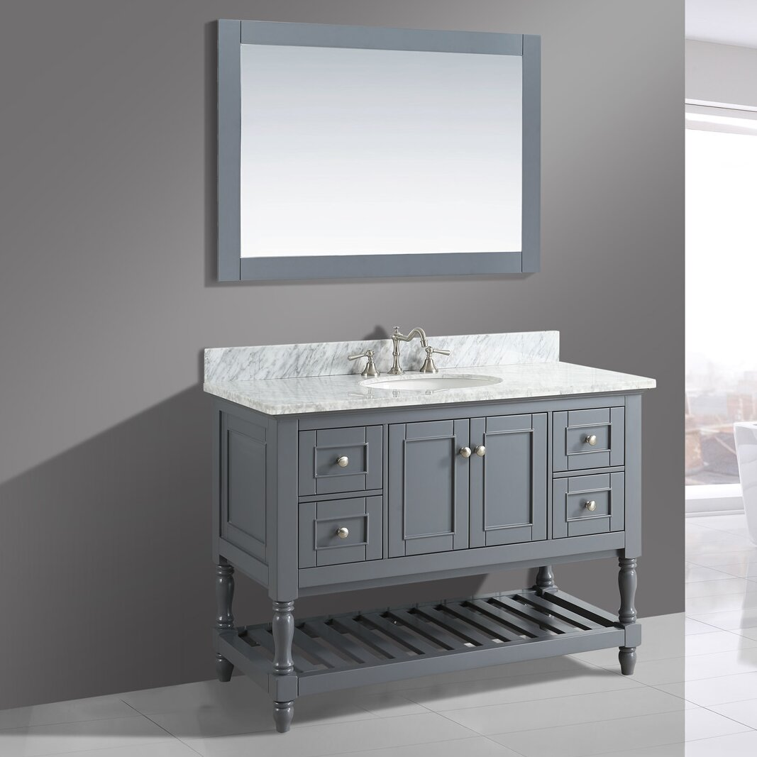 Urban Furnishings Silvia 48 Bathroom Sink Vanity Set With Mirror Wayfair