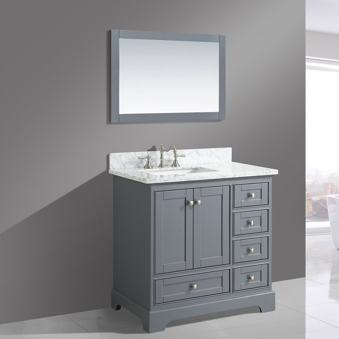 Urban Furnishings Jocelyn 36 Bathroom Sink Vanity Set With Mirror Way