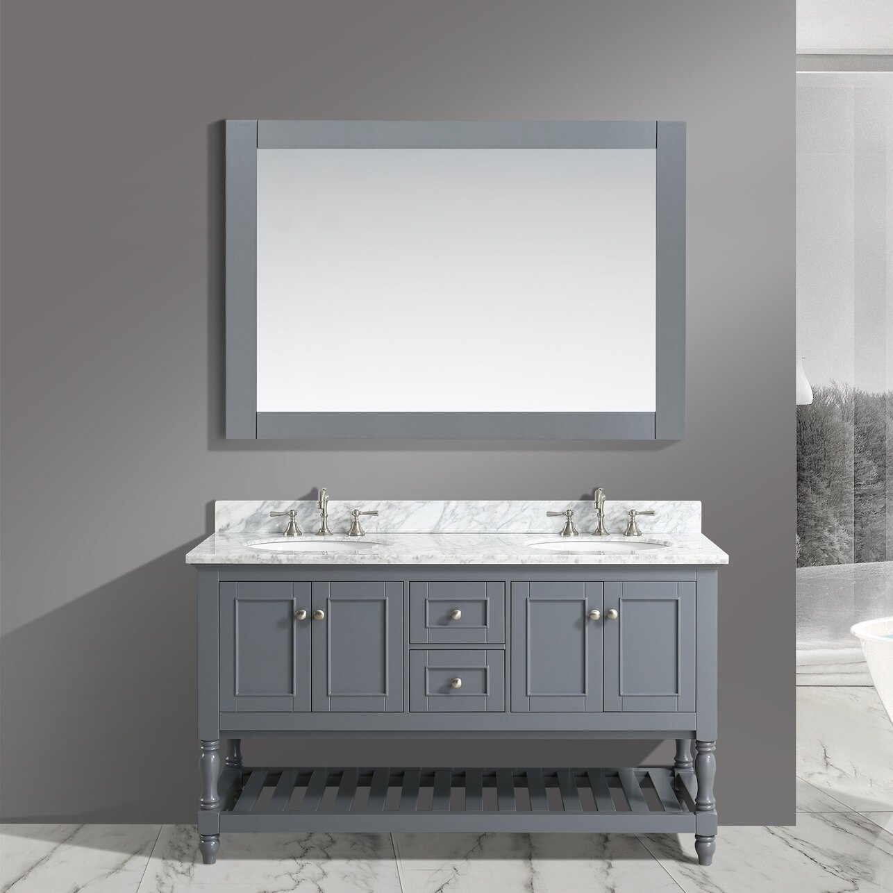 furnishings silvia 60 bathroom sink vanity set with mirror wayfair