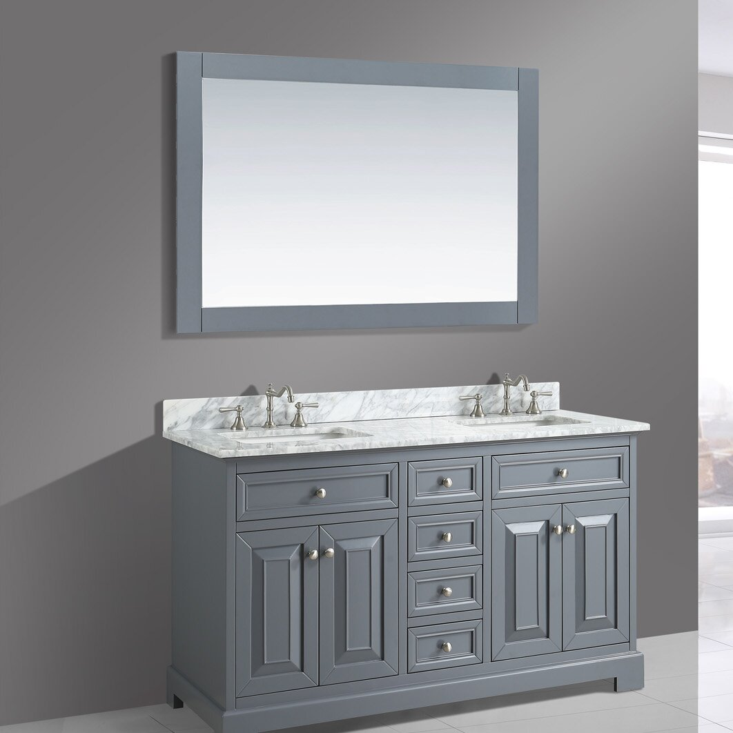 "Wayfair Bathroom Vanity >> Urban Furnishings Rochelle 60"" Double Bathroom Sink Vanity ..."