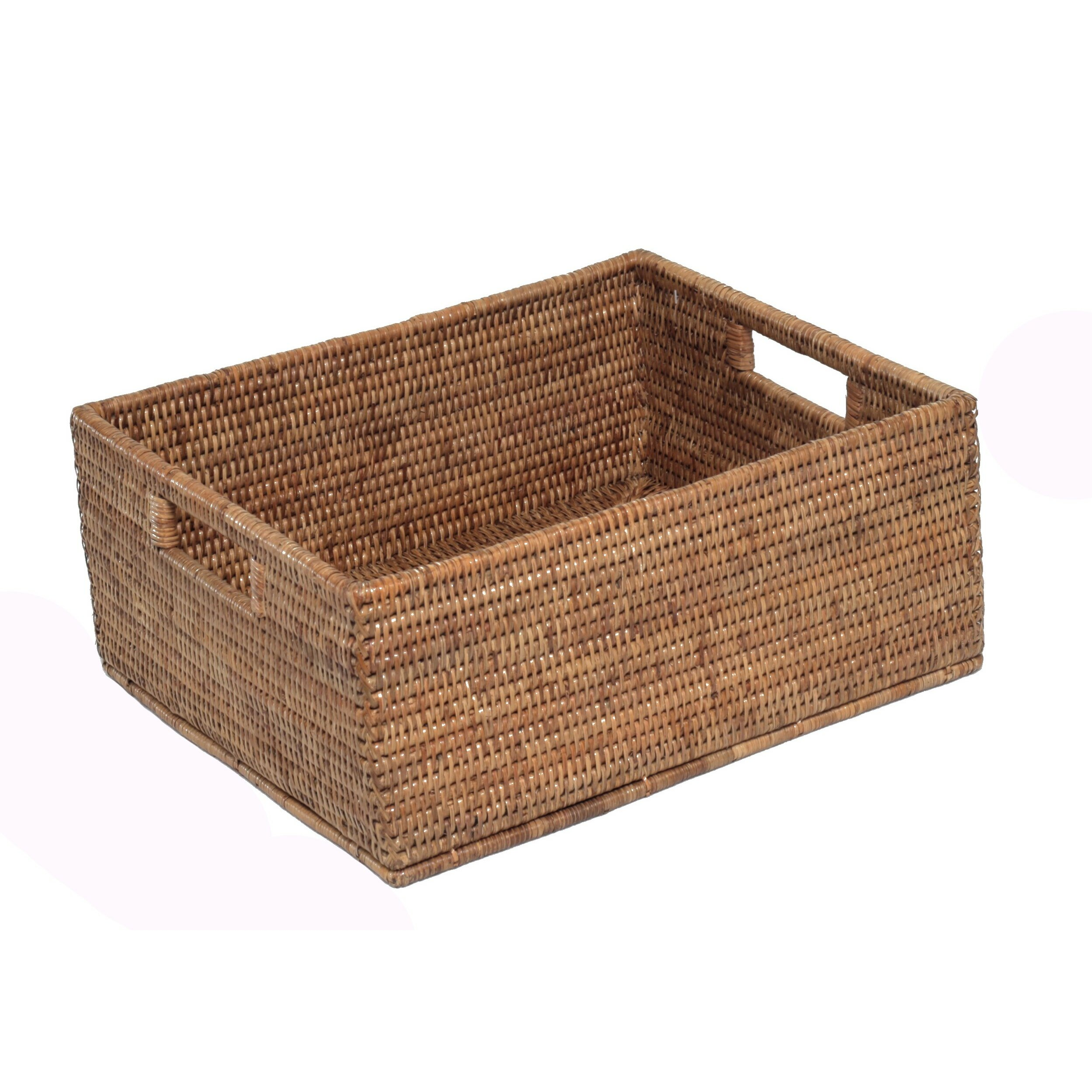 Rectangular Wicker Baskets With Handles : Artifacts trading rattan rectangular basket with cutout