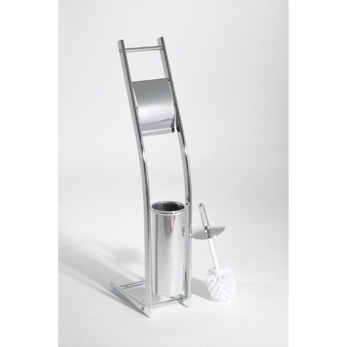 Hokku designs austin free standing toilet roll brush Glass toilet roll holder
