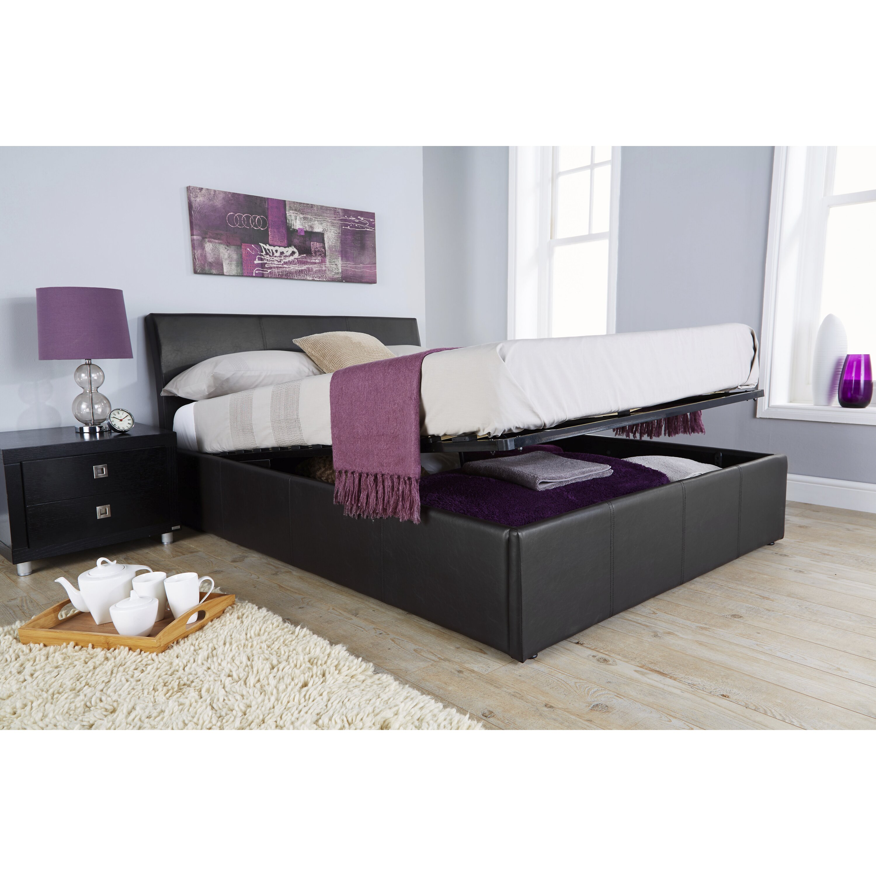 Home loft concept annabelle upholstered ottoman bed for Home loft concept bunk bed