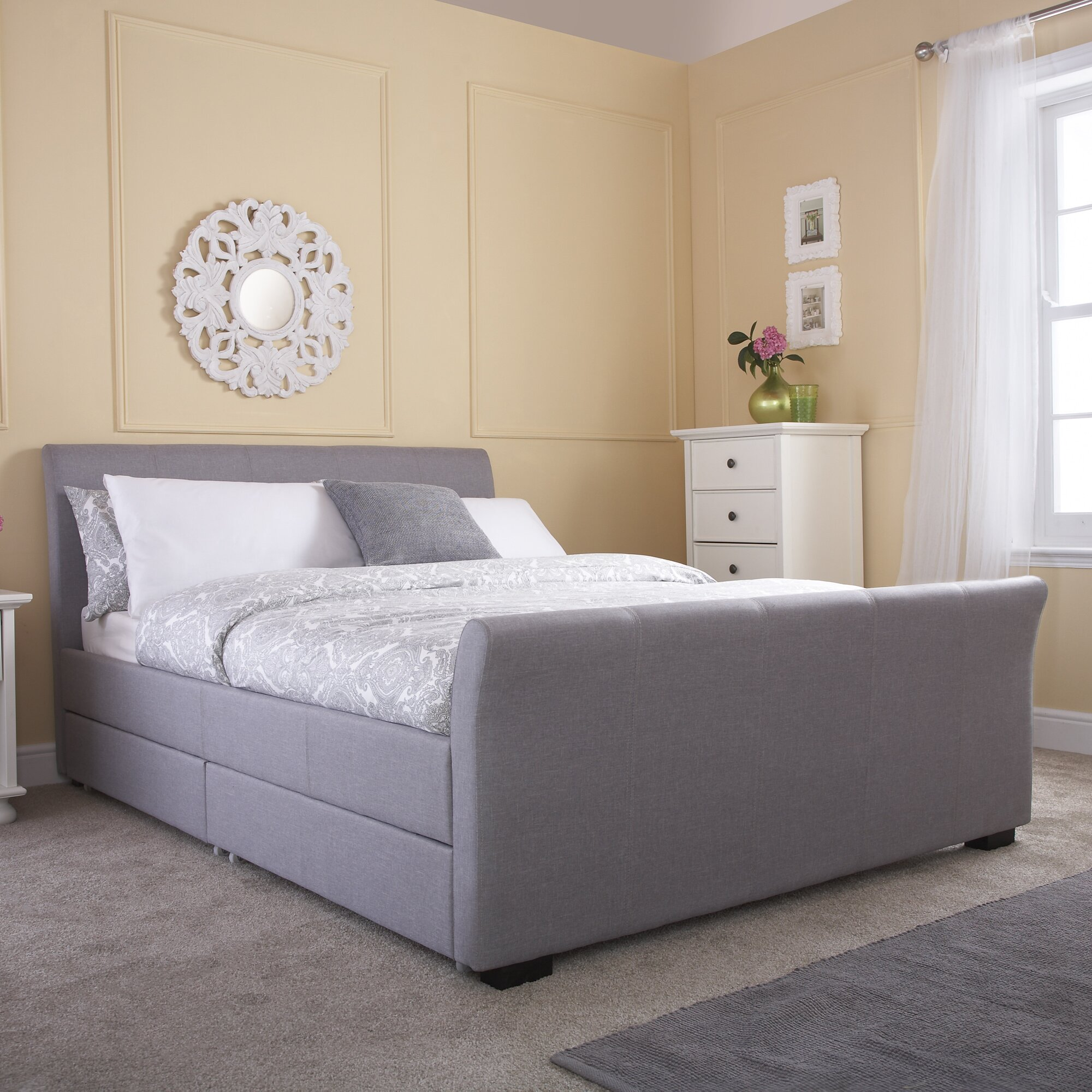 Home loft concept hannah upholstered storage bed reviews for Concept beds