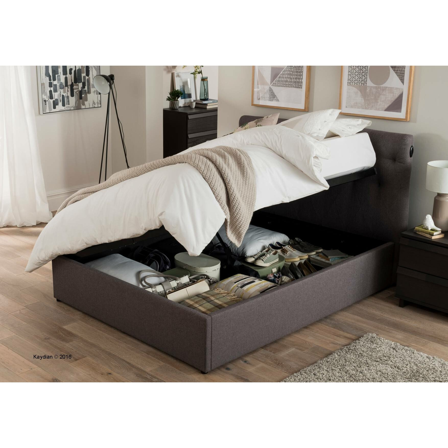 Home loft concept canamero upholstered ottoman bed for Home loft concept bunk bed