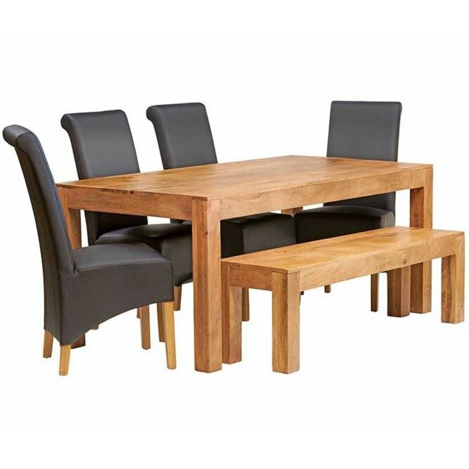hazelwood home nelson dining table and 4 chairs and bench