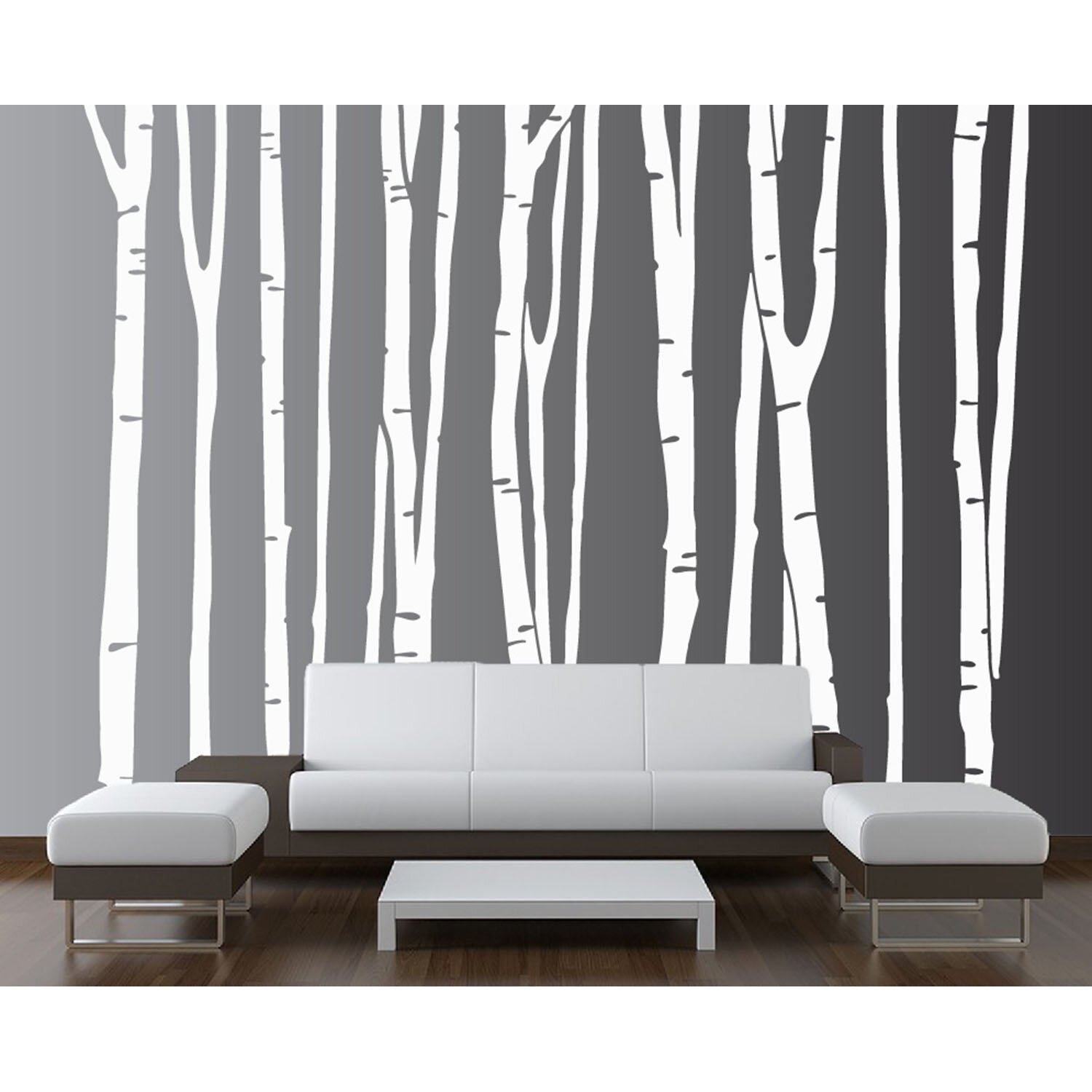 innovative stencils birch tree forest sticker wall decal reviews wayfair. Black Bedroom Furniture Sets. Home Design Ideas