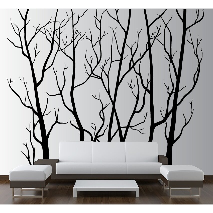 Innovative stencils tree forest branches with birds wall for Black and white tree wall mural