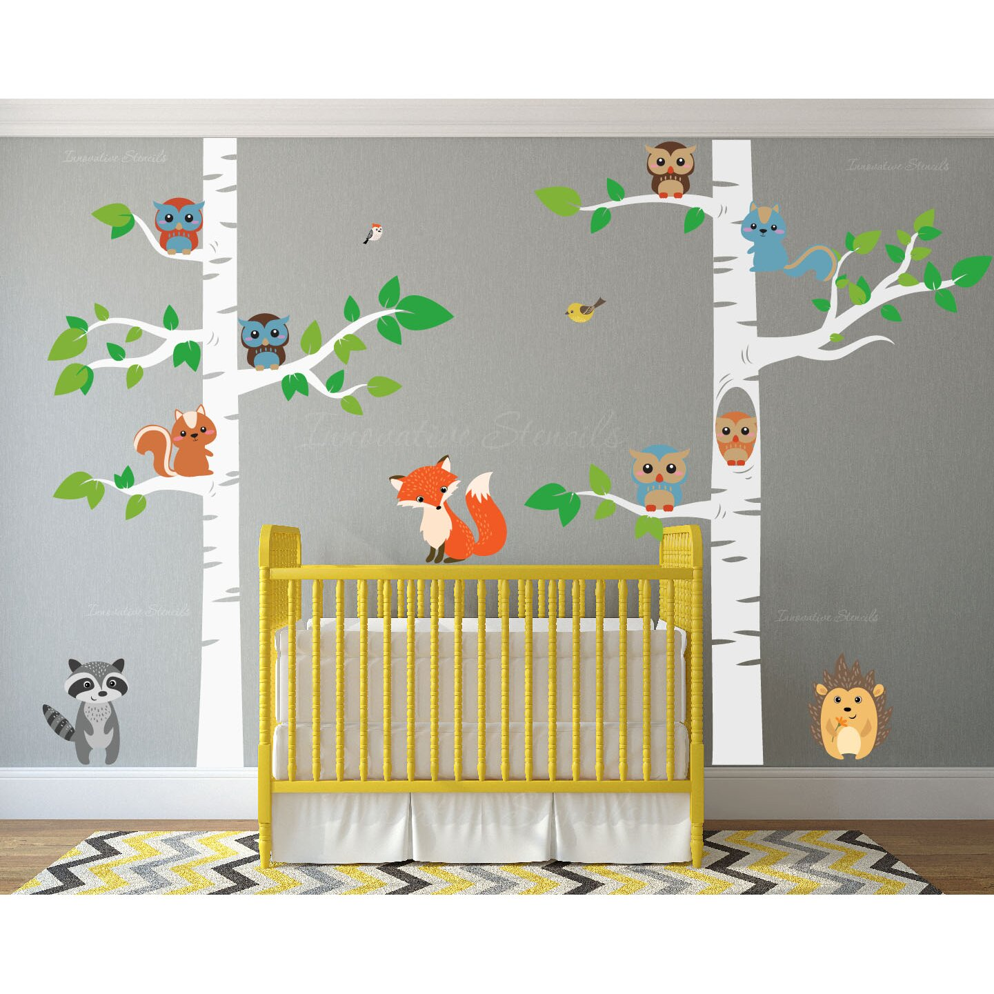 Innovative Stencils 12 Piece Birch Tree Nursery Wall Decal
