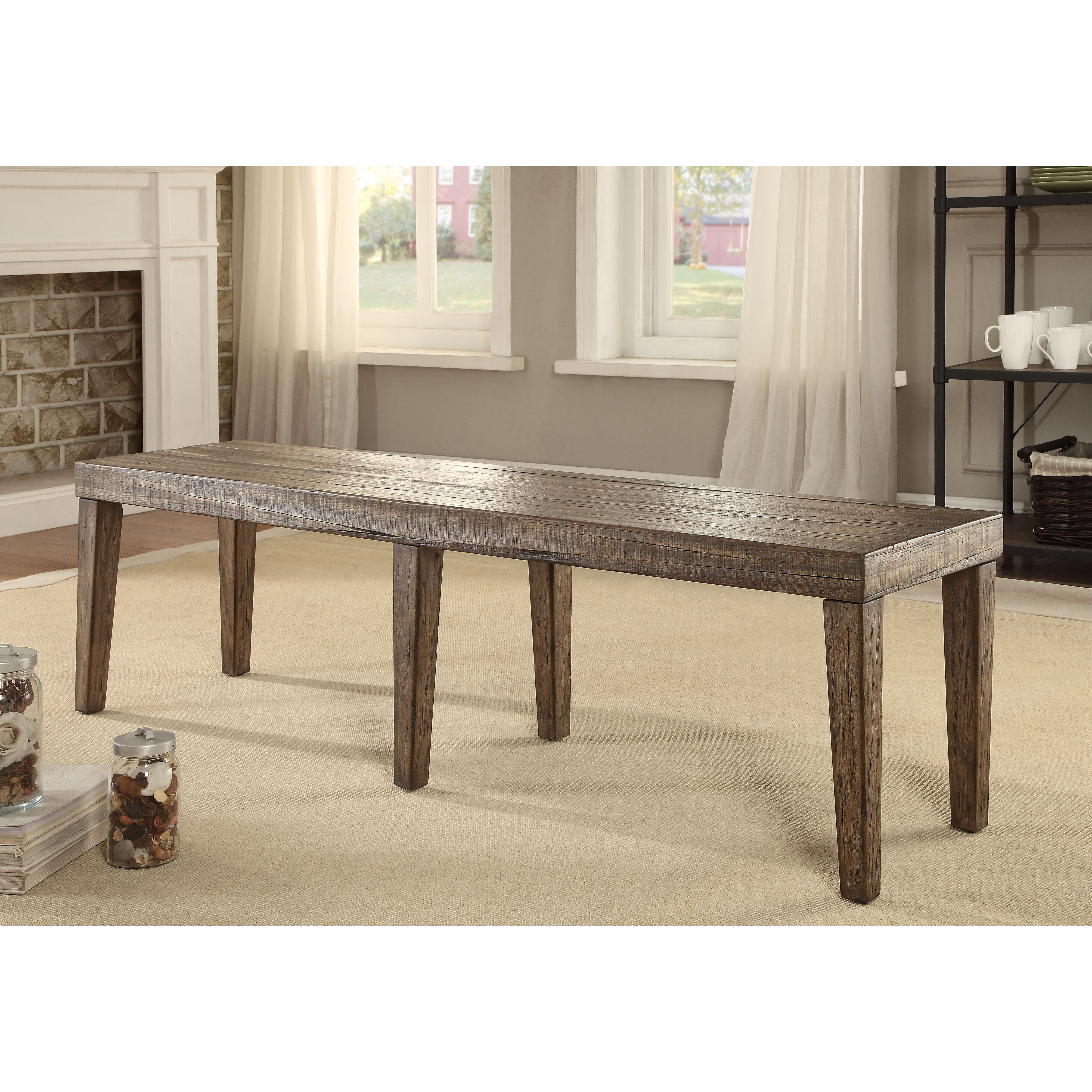 Canora Grey Shelby Wood Kitchen Bench & Reviews