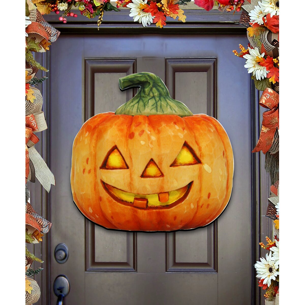 Decorative Door Hangers Authentic Monogram Custom Art Halloween Pumpkin Wooden