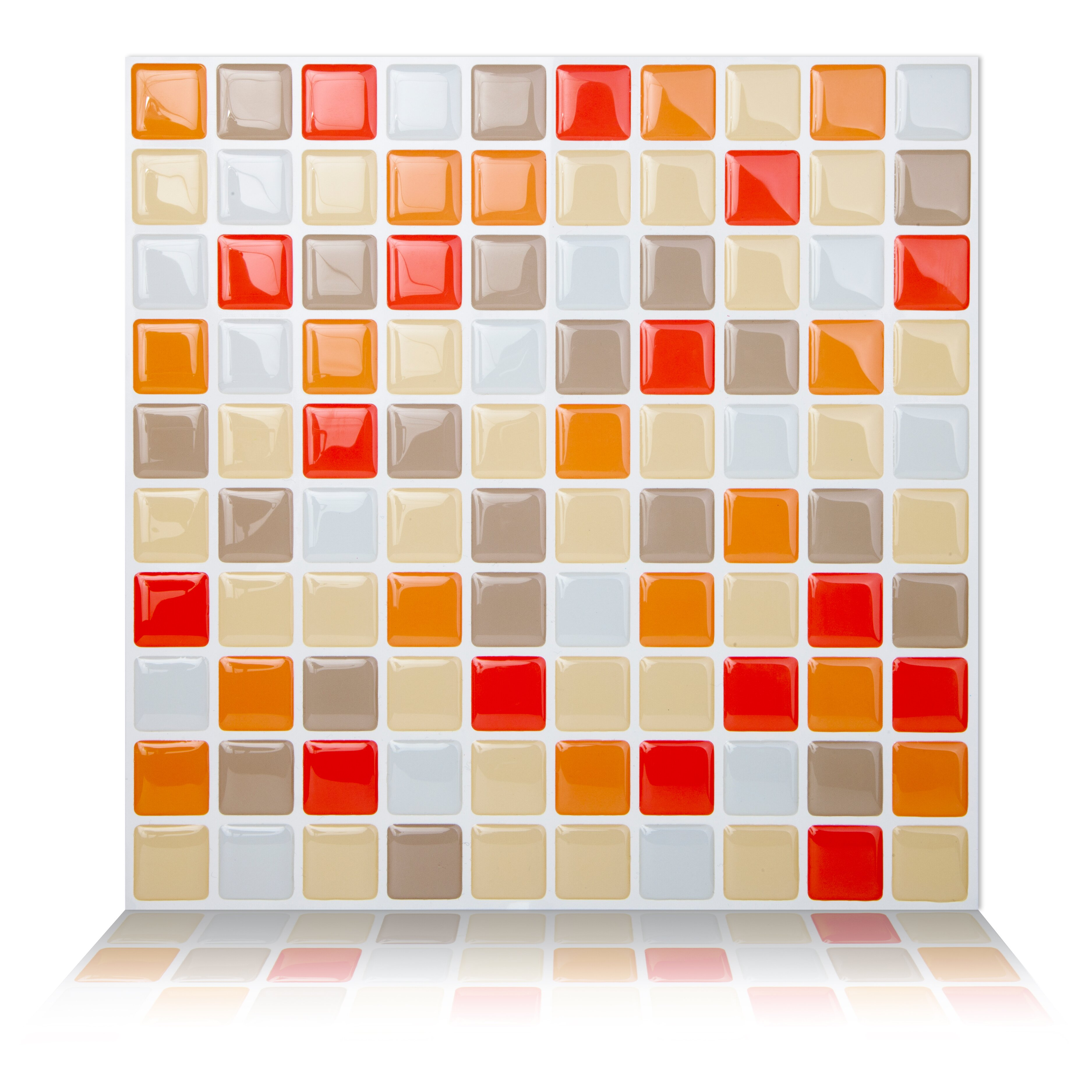Tictactiles x peel stick mosaic tile in for Orange peel and stick wallpaper