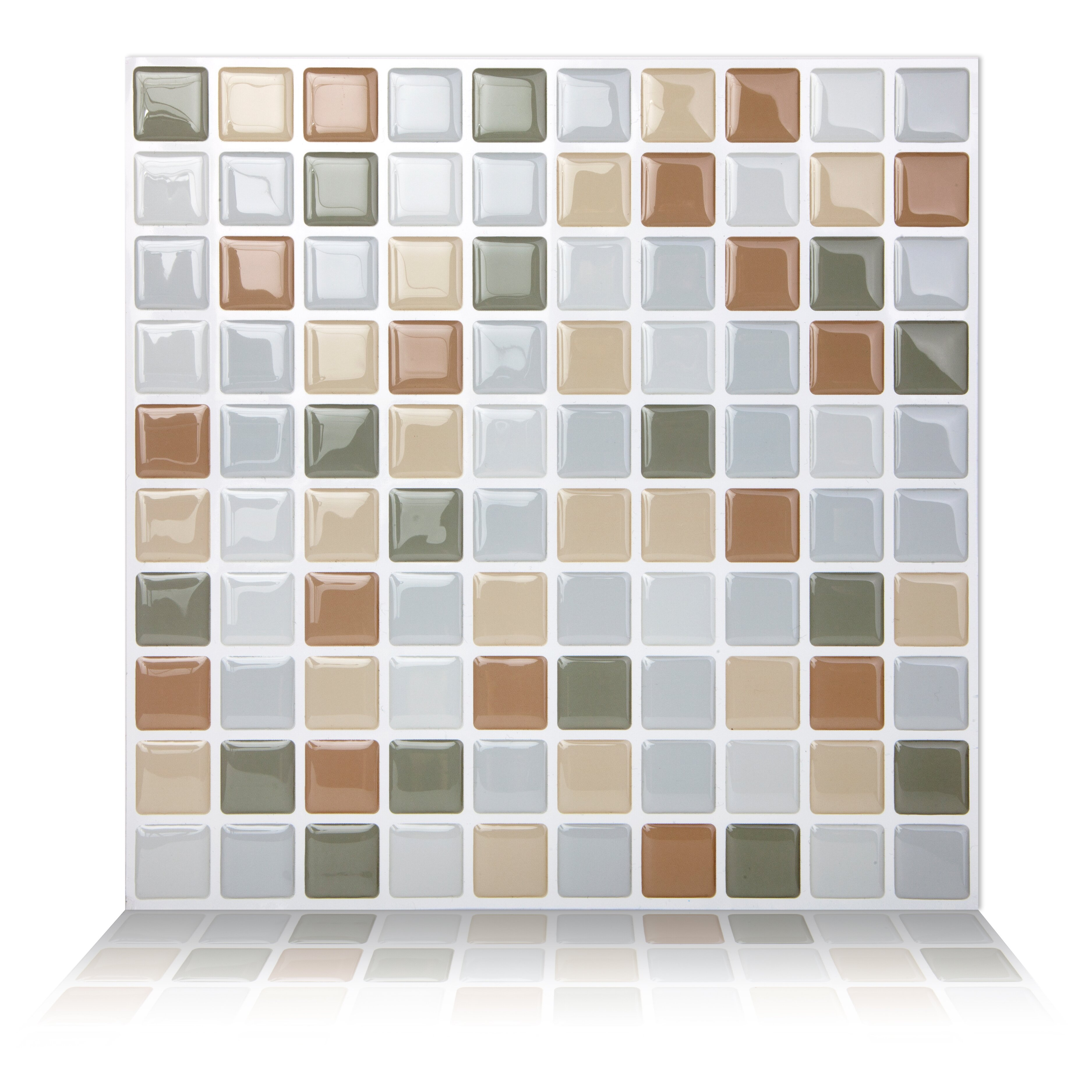 Tictactiles x peel stick mosaic tile in for Peel and stick wallpaper squares