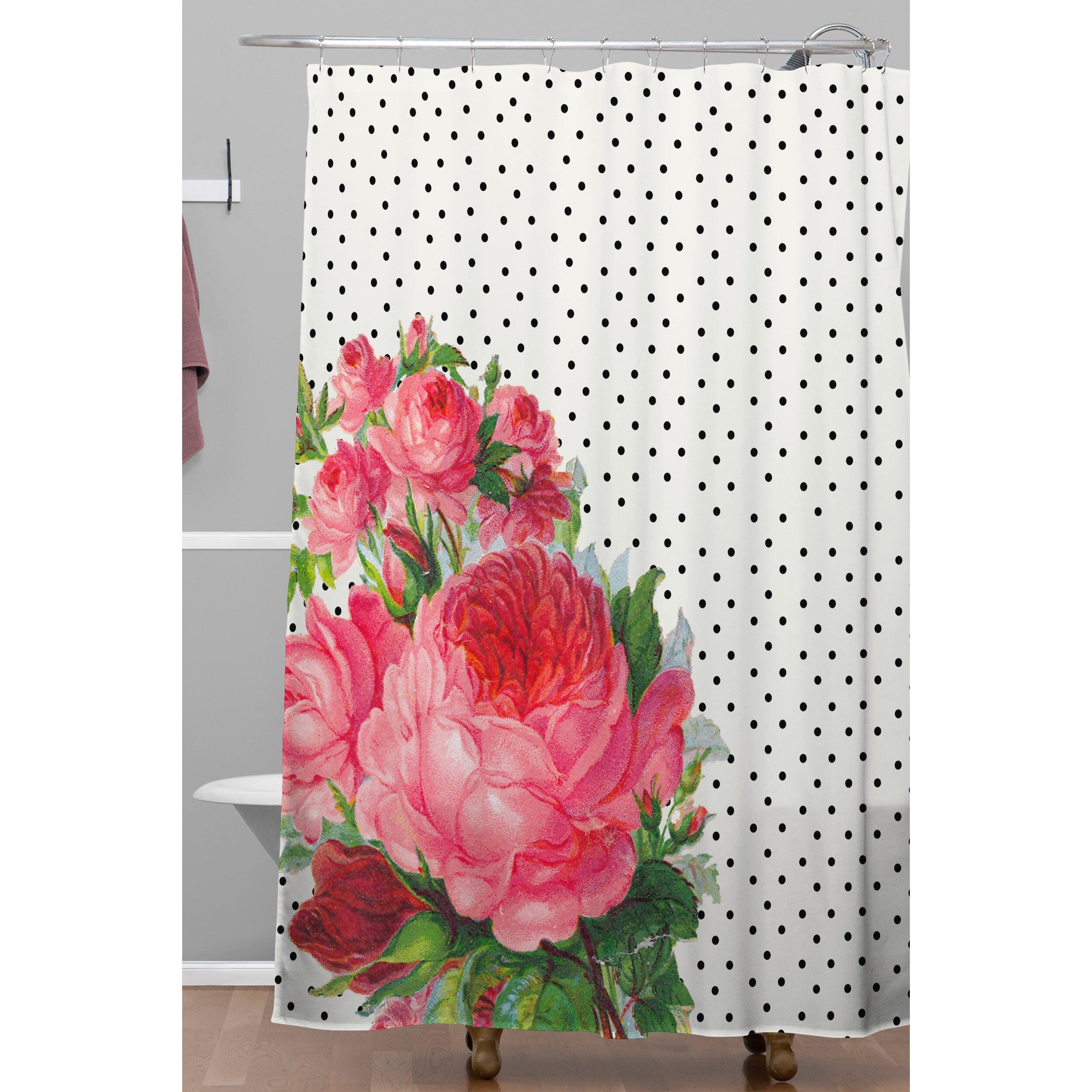Hot pink shower curtain - Hot Pink Polka Dot Shower Curtain East Urban Home Allyson Johnson Floral Polka Dot Shower