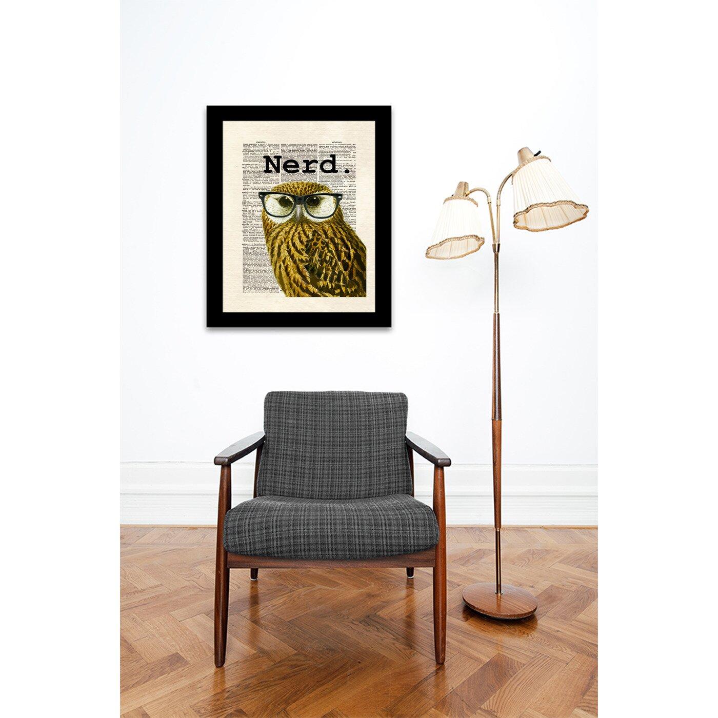 East Urban Home Owl Nerd By Matt Dinniman Framed Graphic Art Reviews Wayfair