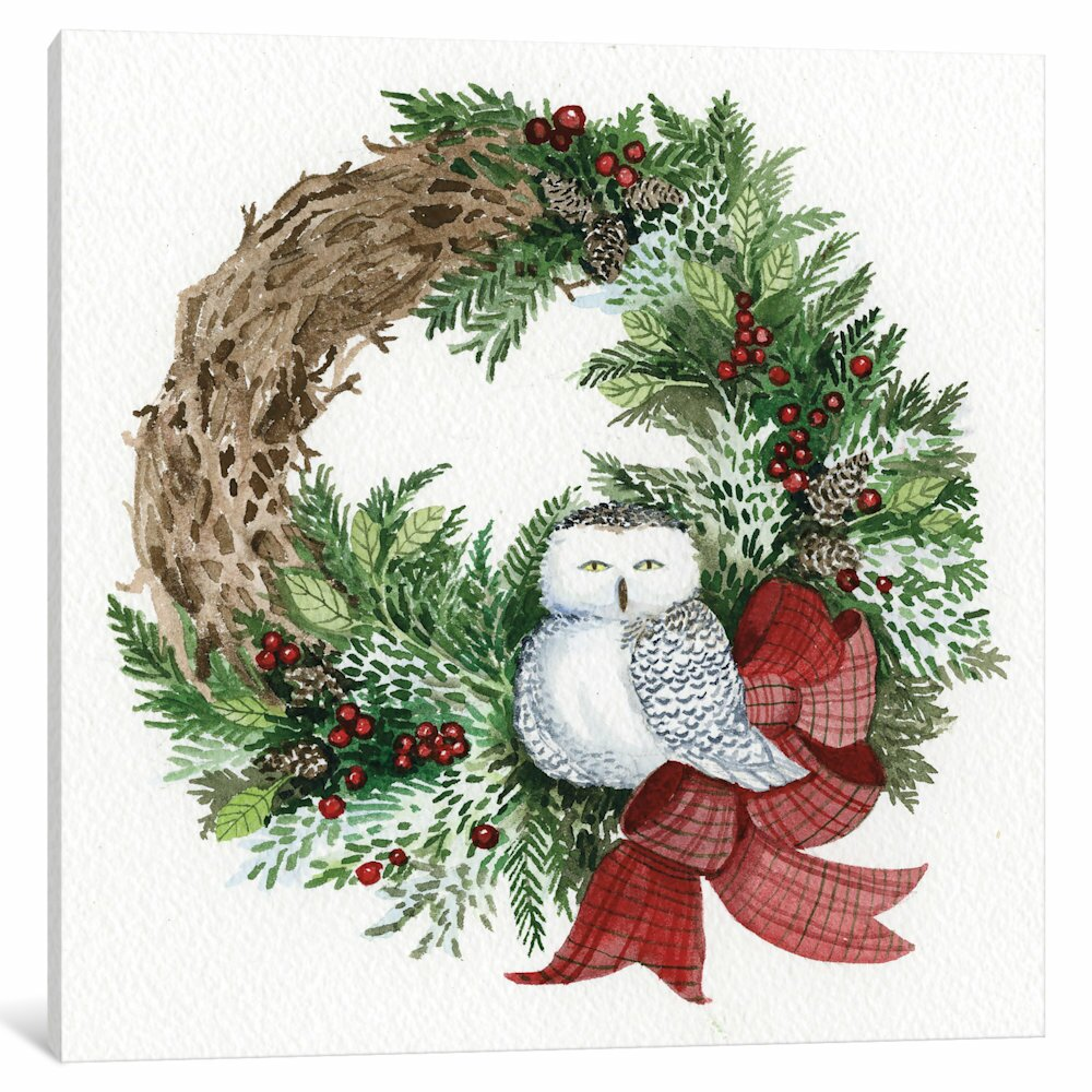 East Urban Home Holiday Wreath Ii Painting Print On