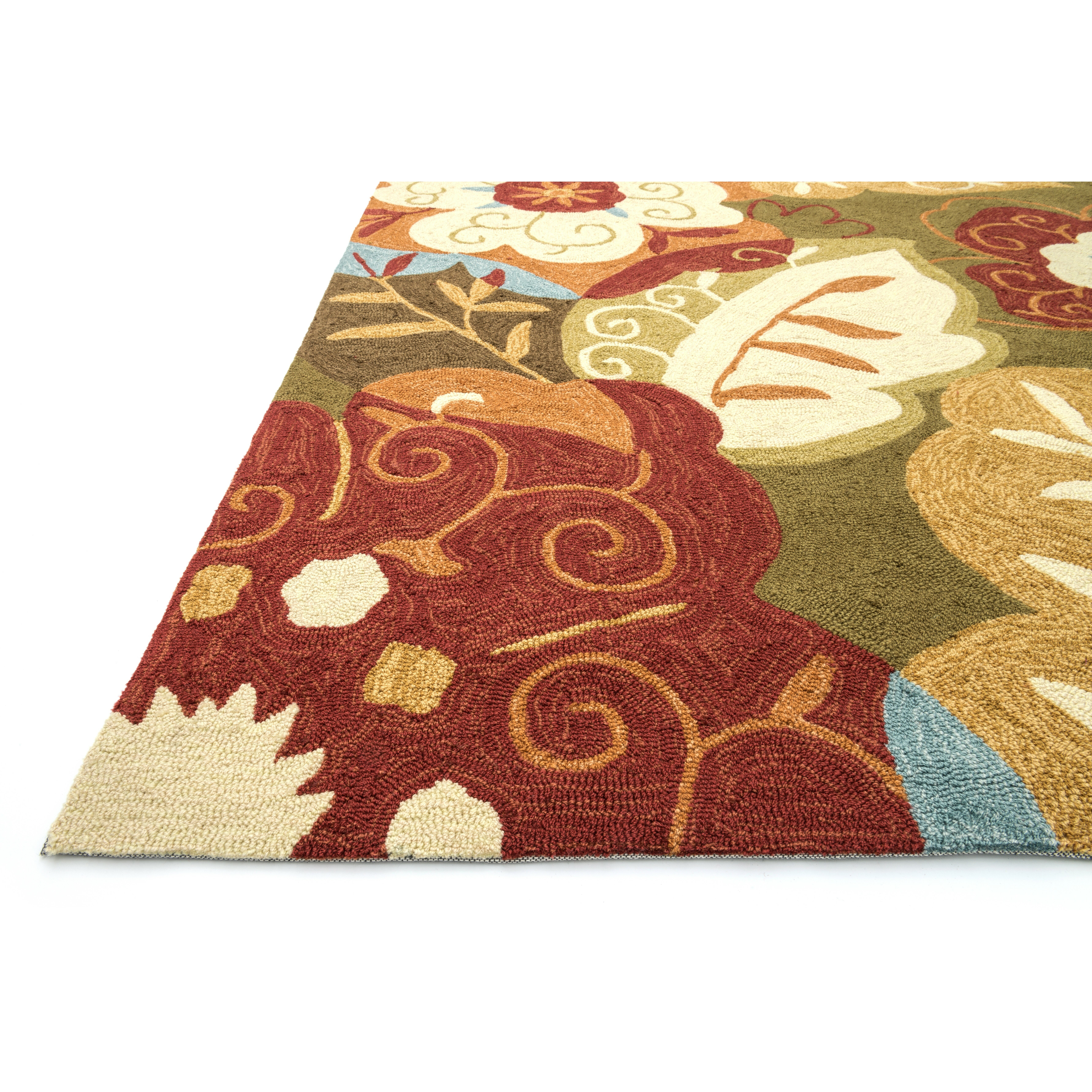 The conestoga trading co hand hooked green red area rug for The rug company rugs