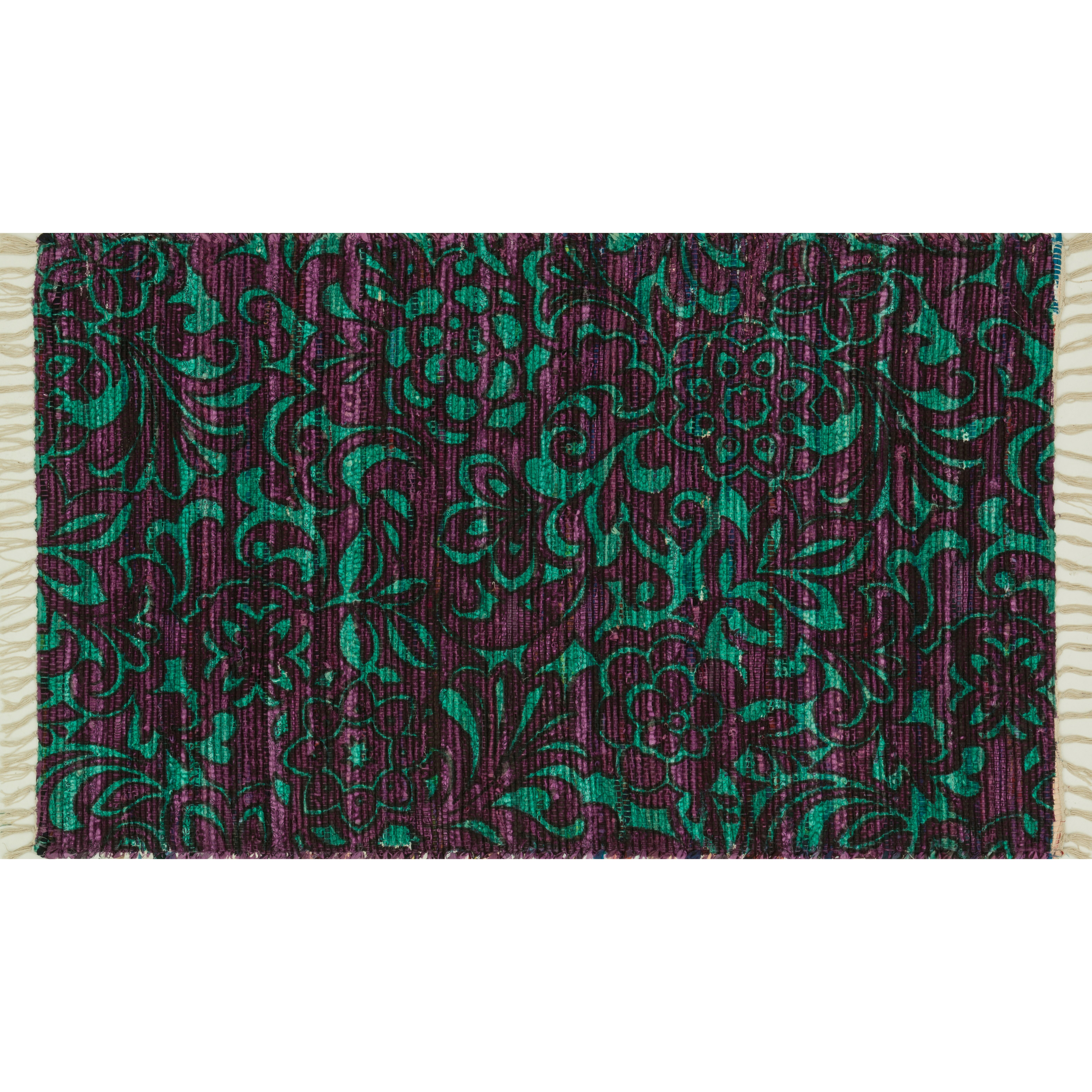 Purple Turquoise Rag Rug: The Conestoga Trading Co. Purple/Turquoise Area Rug