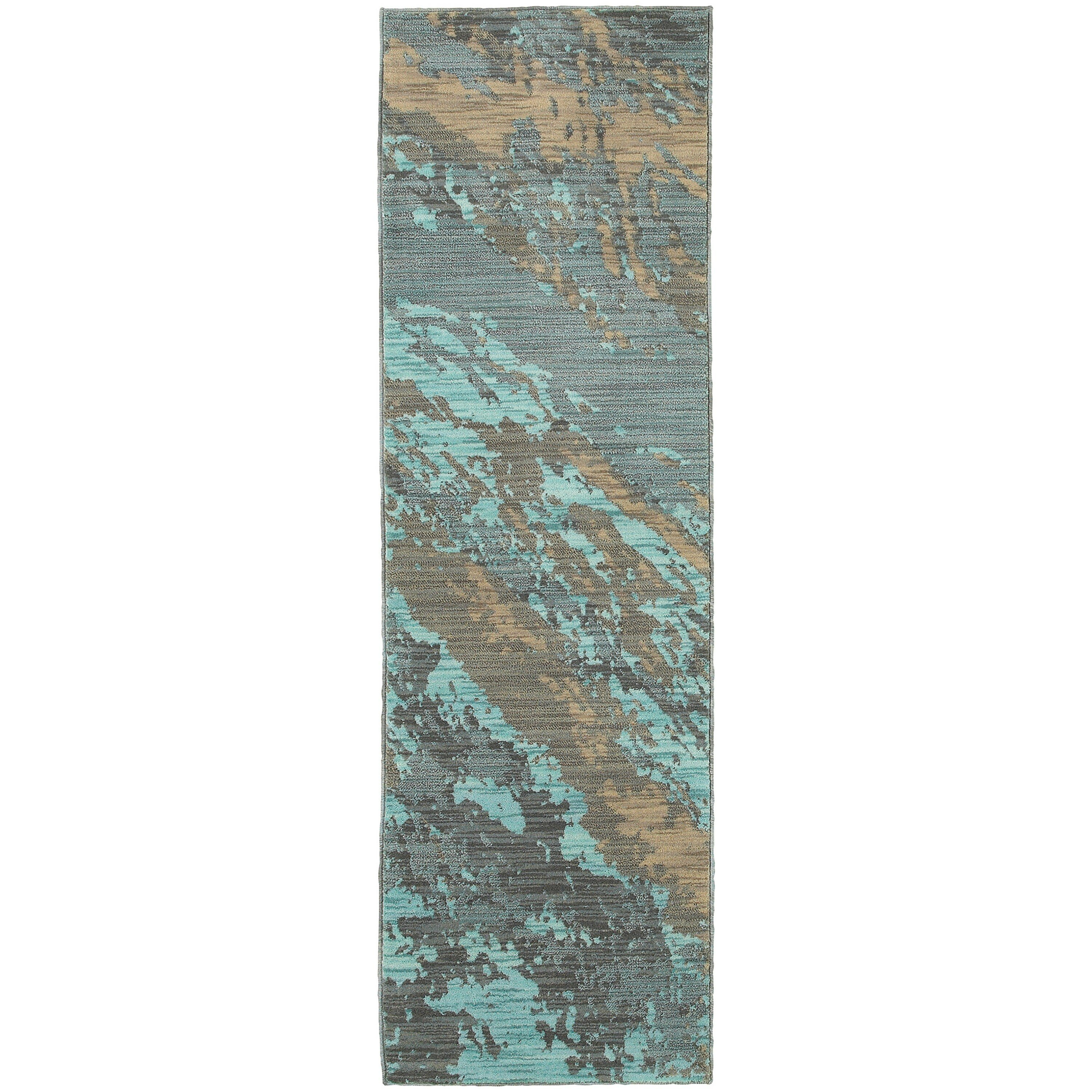 The Conestoga Trading Co Agave Marble Teal Gray Area Rug