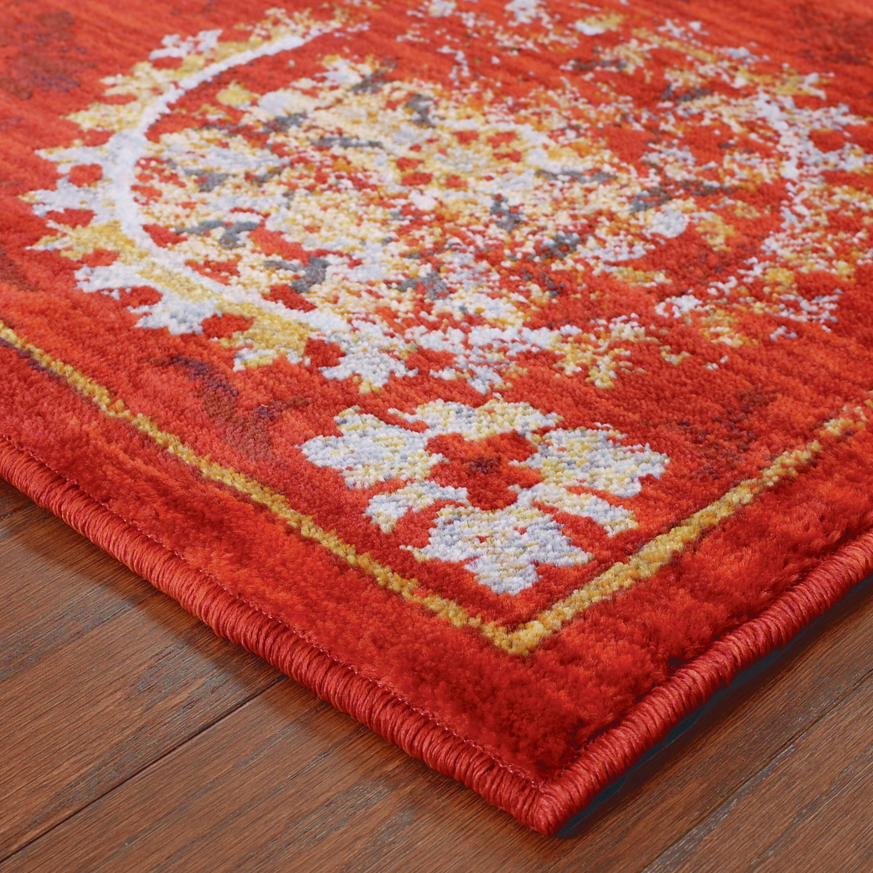 The conestoga trading co agave red gold area rug wayfair for Red and gold area rugs