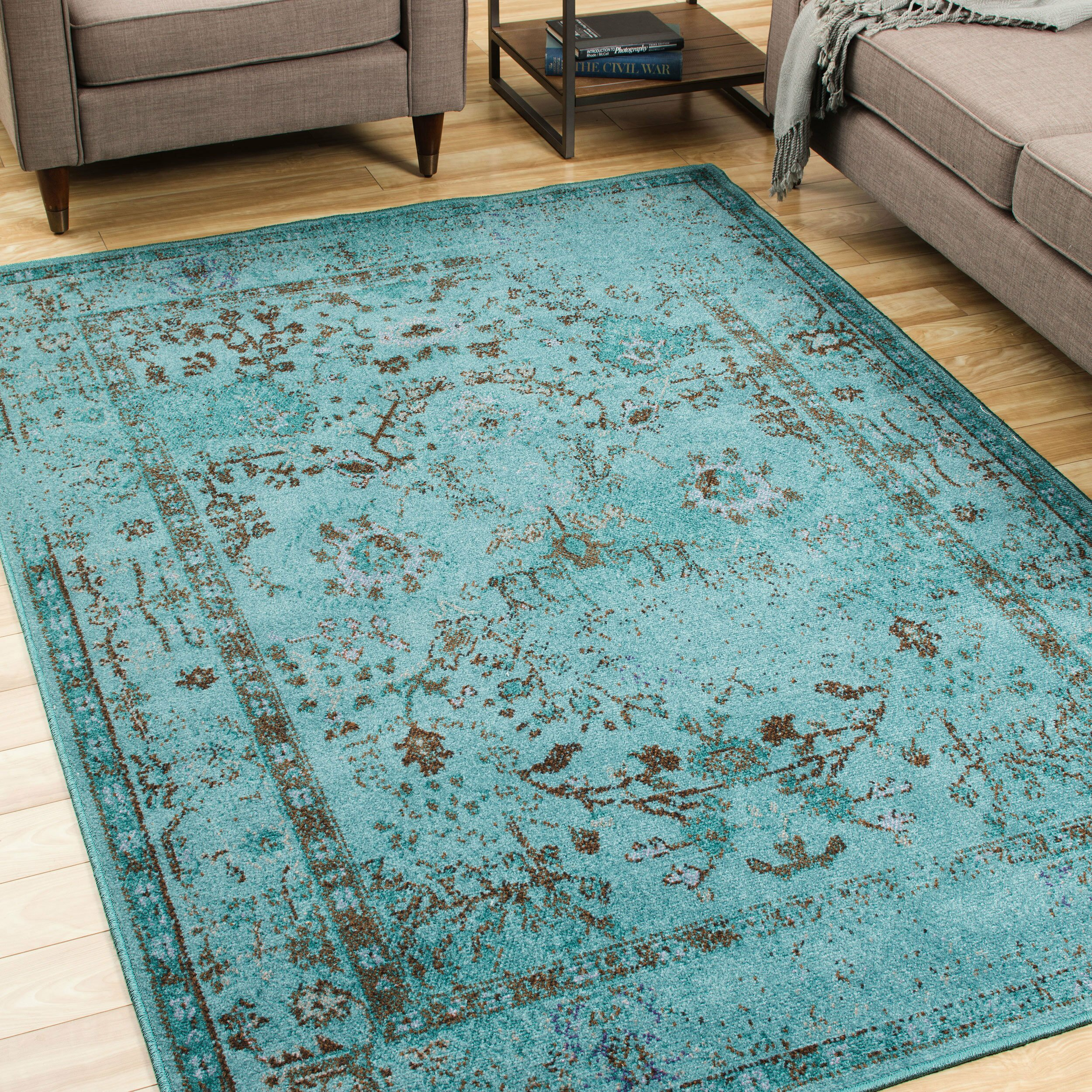 The Conestoga Trading Co. Renaissance Teal/Gray Area Rug