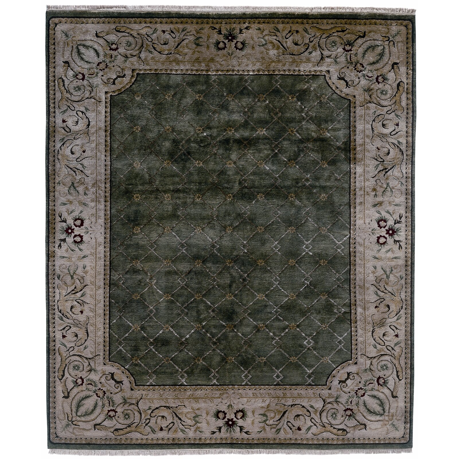 Meridian Rugmakers Hand-Knotted Green/Gray Area Rug