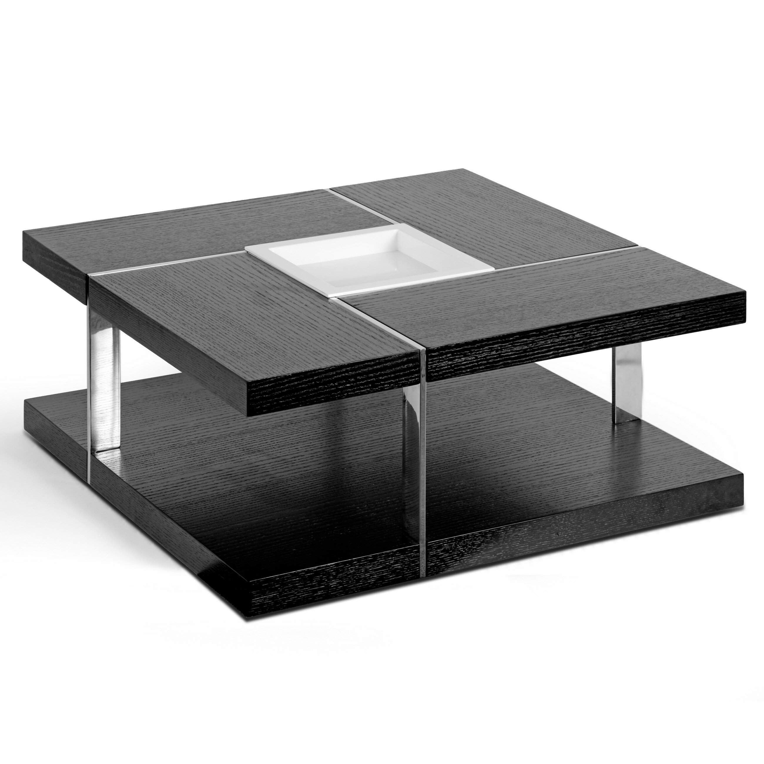 Glamour home decor aira square coffee table with tray top for Decor for coffee table