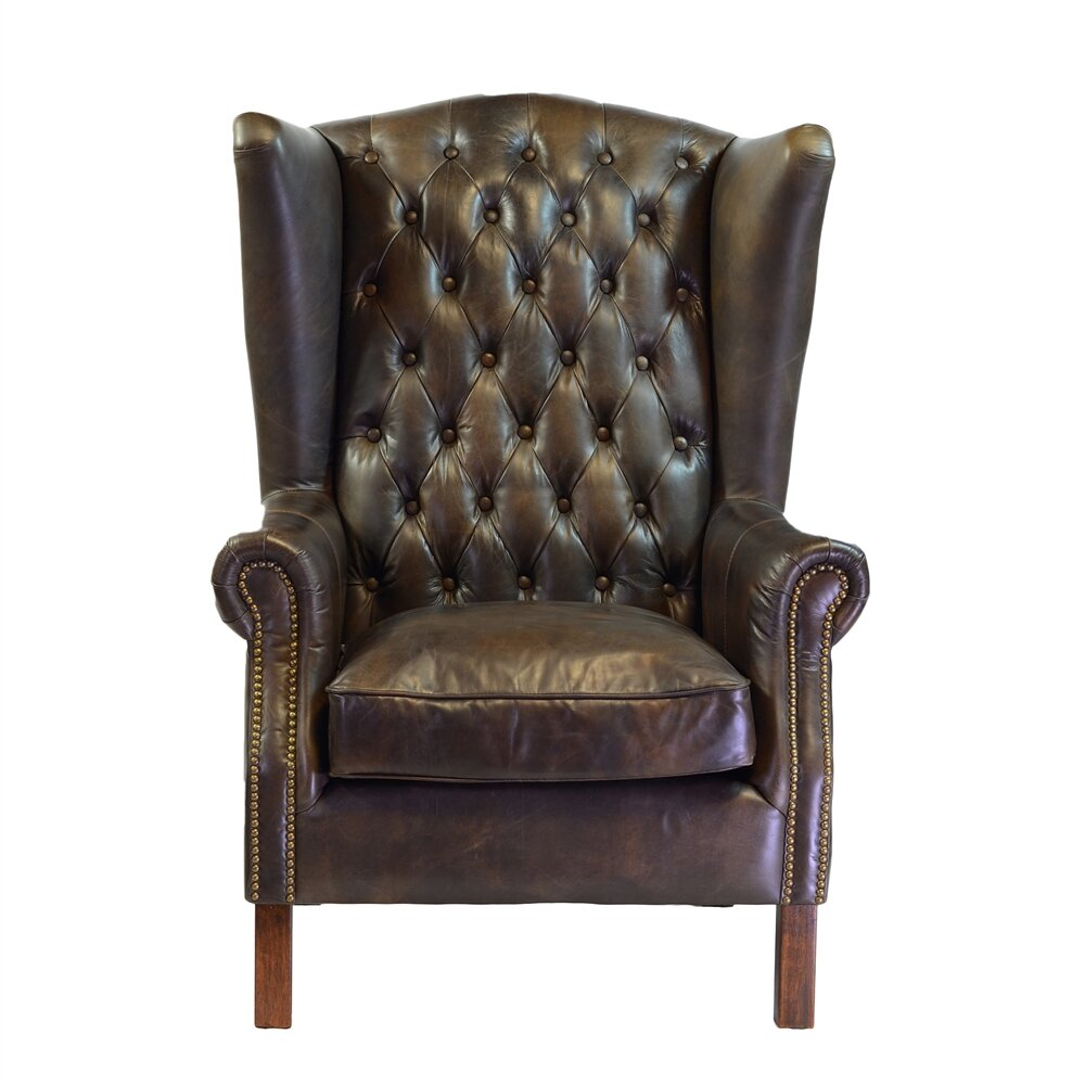 Joseph allen old world antique leather wingback chair for Antique leather chairs