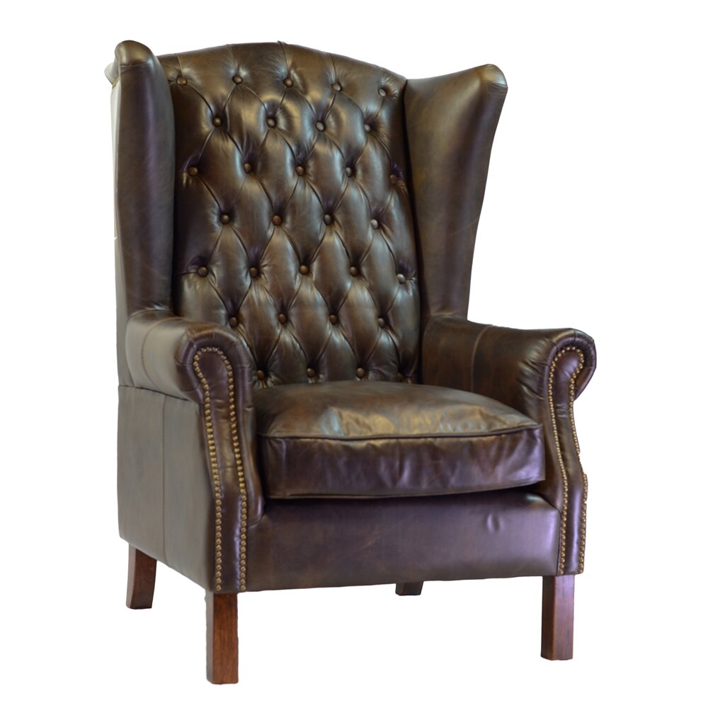 Joseph Allen Old World Antique Leather Wingback Chair Wayfair