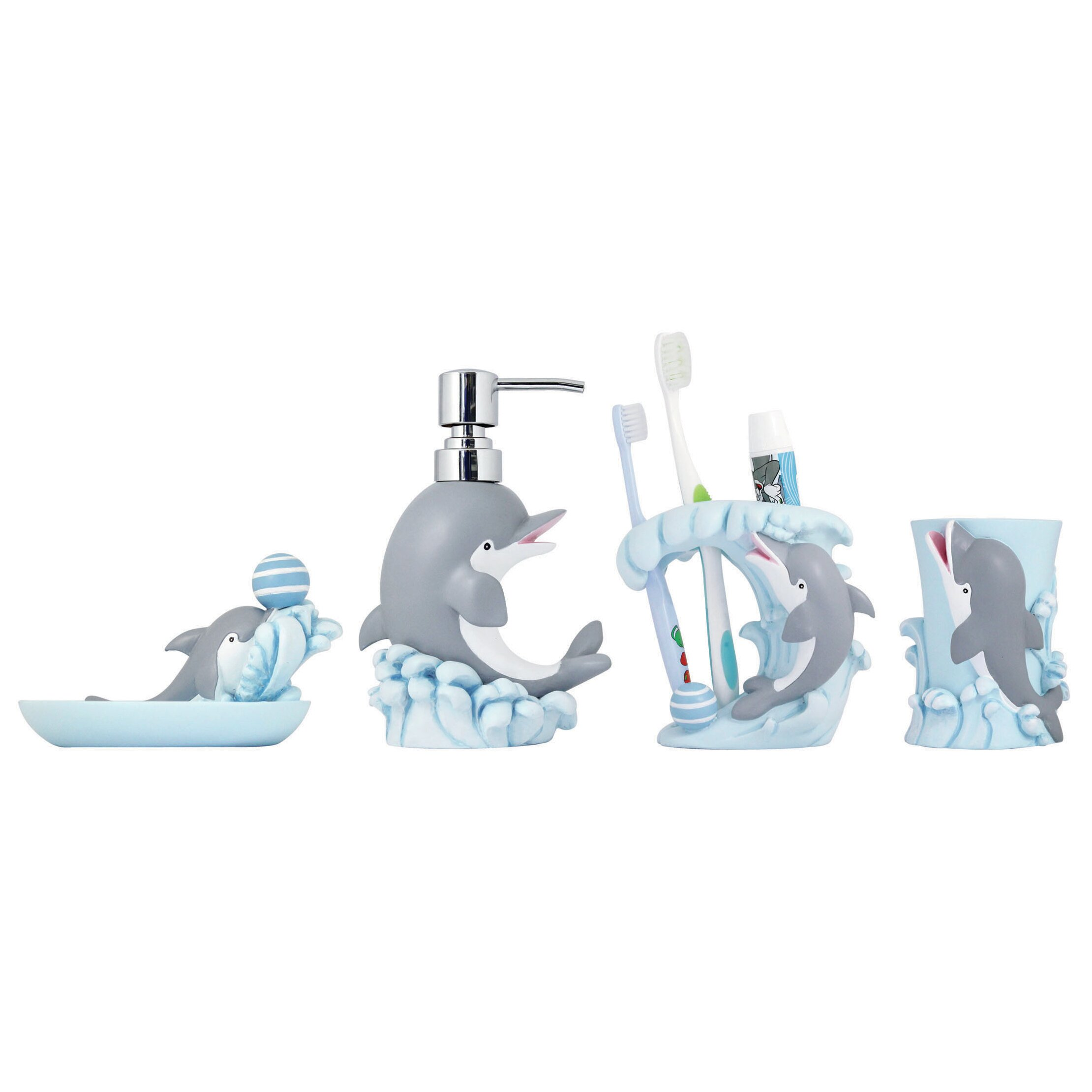Modona 4 Piece Kids Bathroom Accessories Set