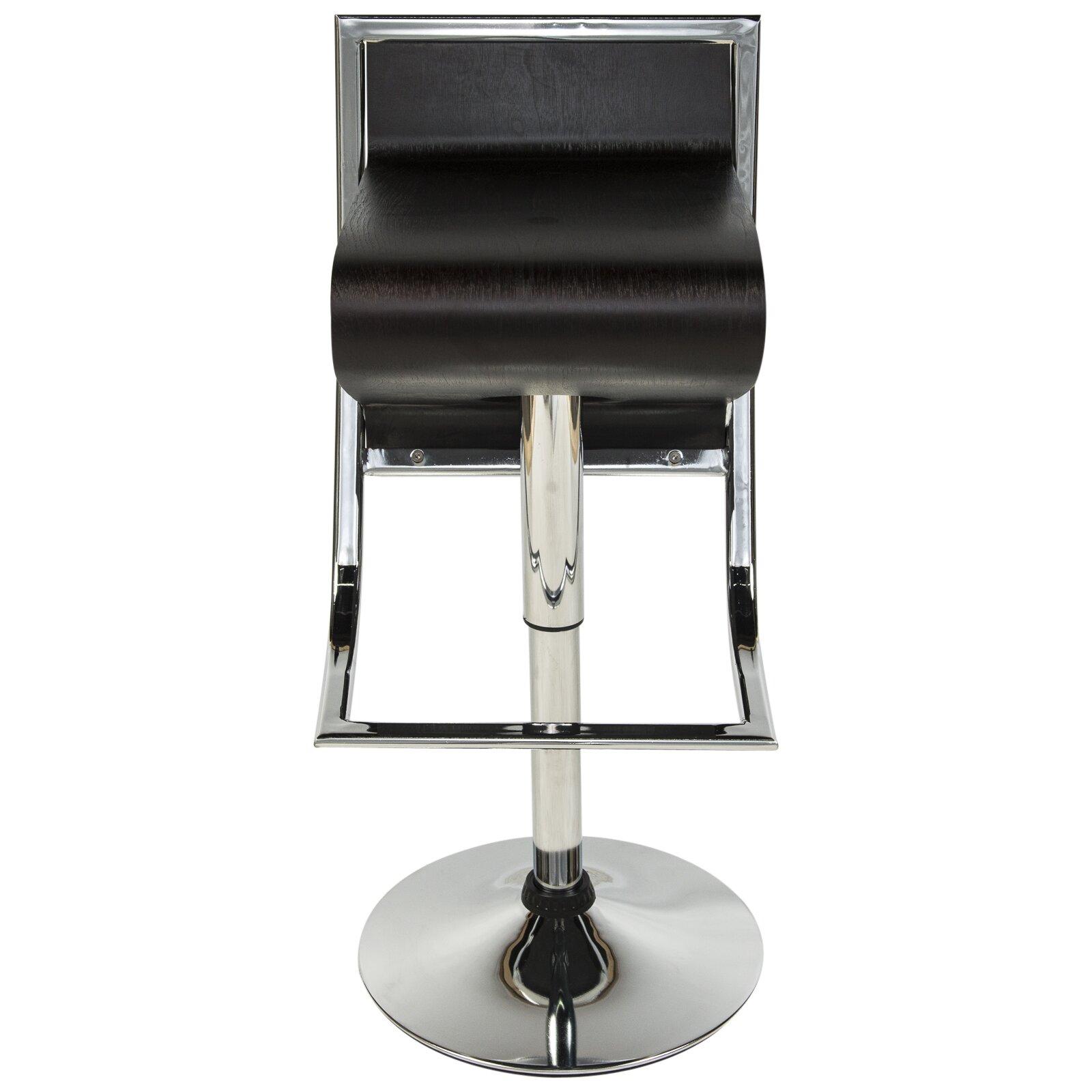 Leisuremod napoli adjustable height swivel bar stool wayfair for Adjustable height bar stools