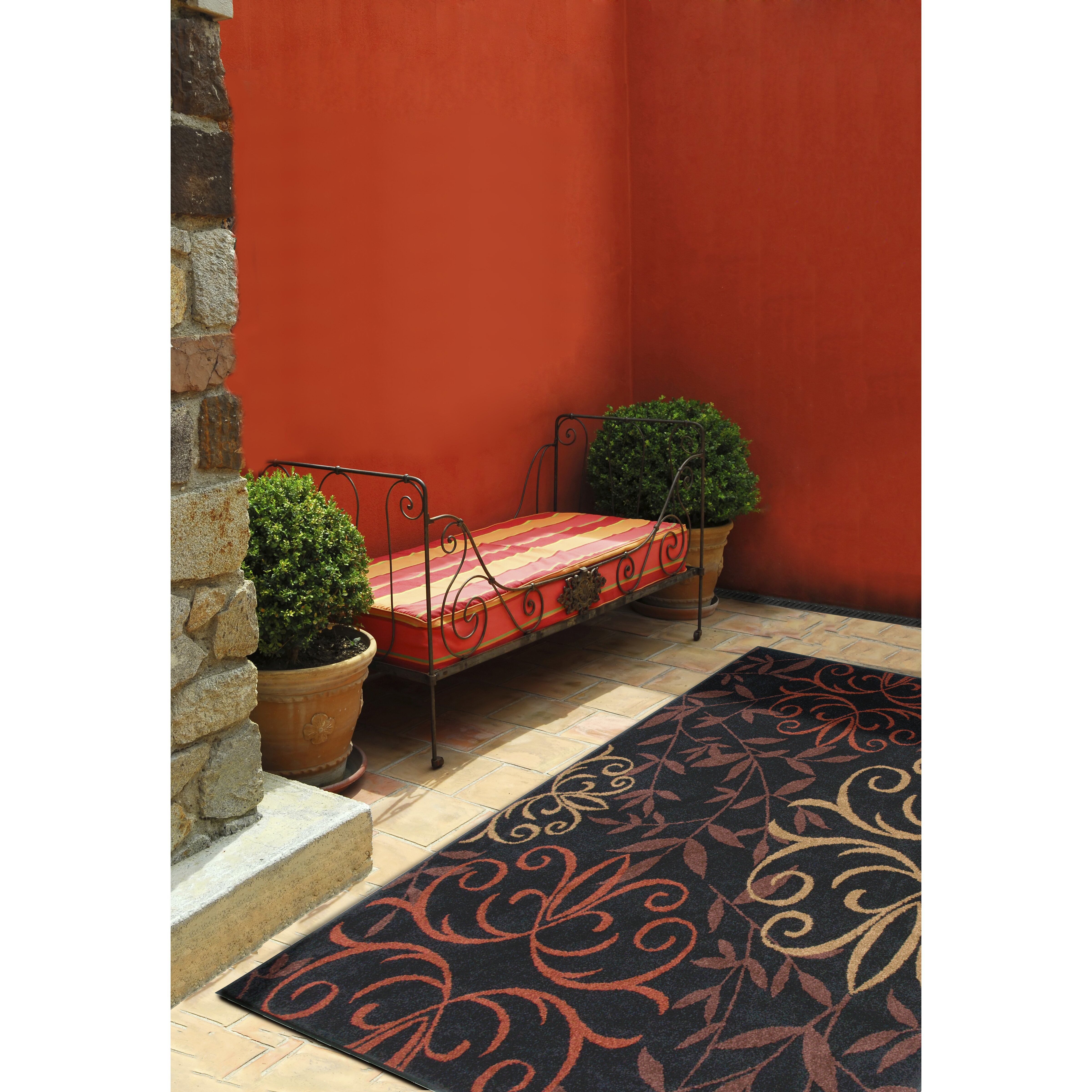 Threadbind olivia black indoor outdoor area rug reviews for Landscape indoor area rug