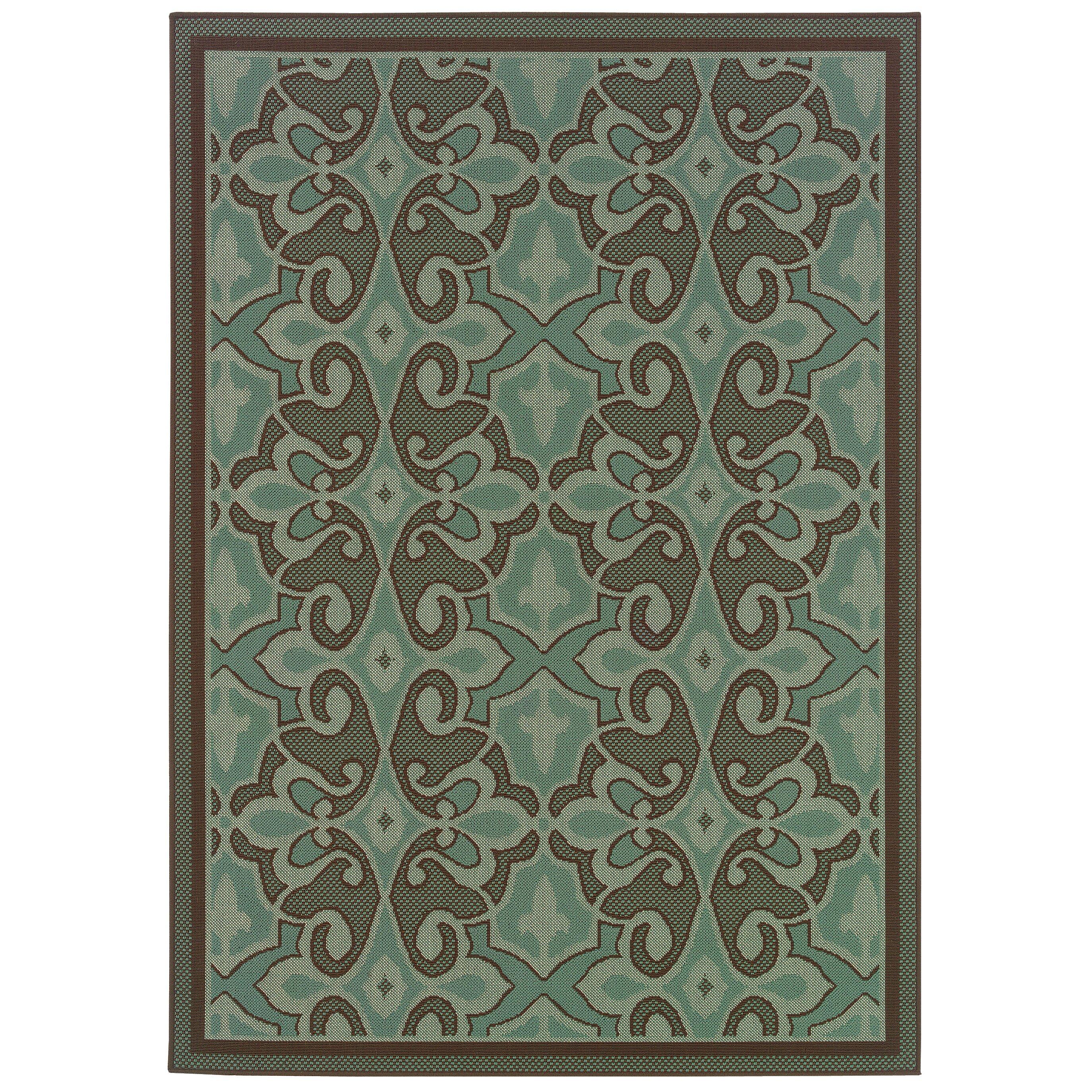Threadbind newfield blue brown indoor outdoor area rug for Blue indoor outdoor rug