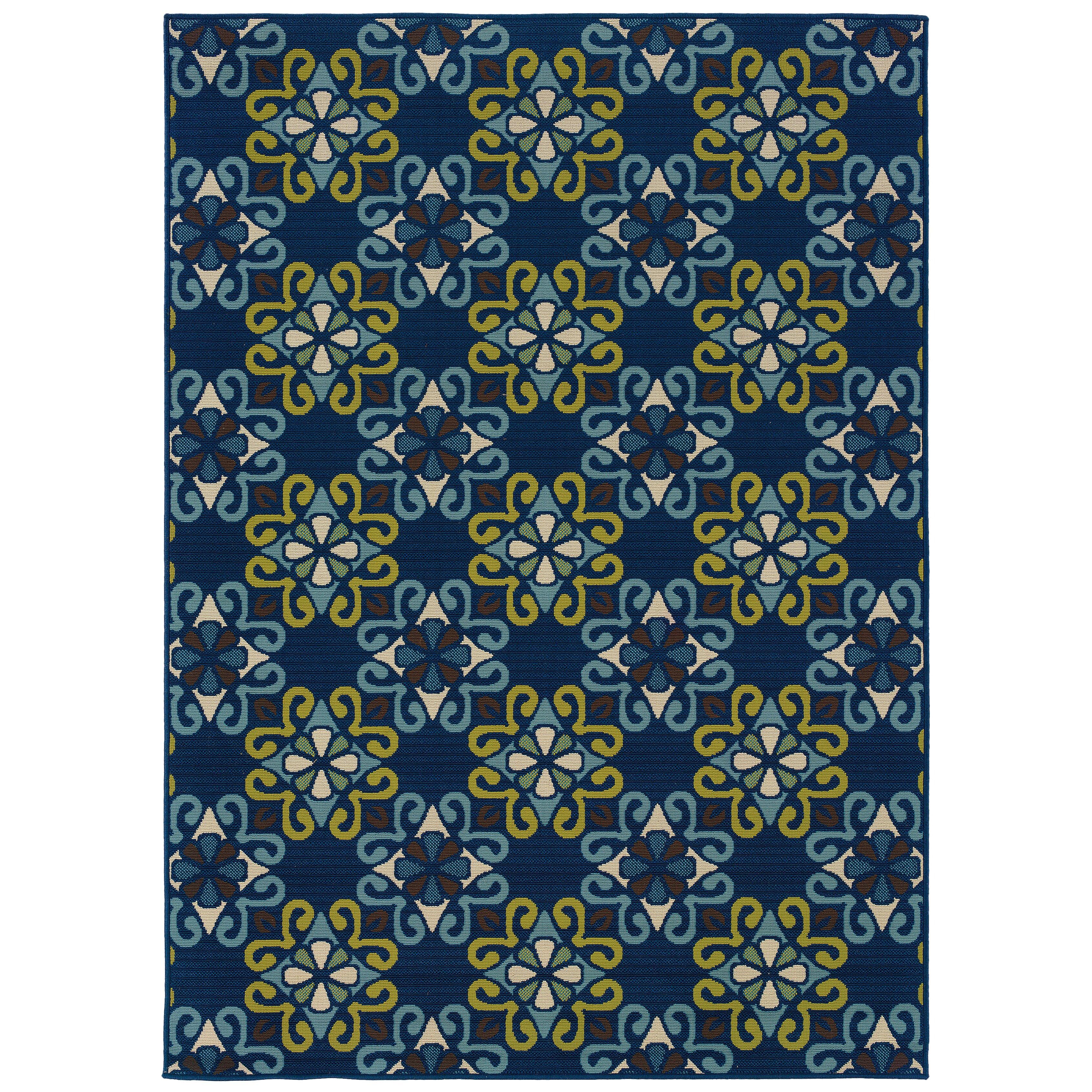 Threadbind newfield blue green indoor outdoor area rug for Blue indoor outdoor rug