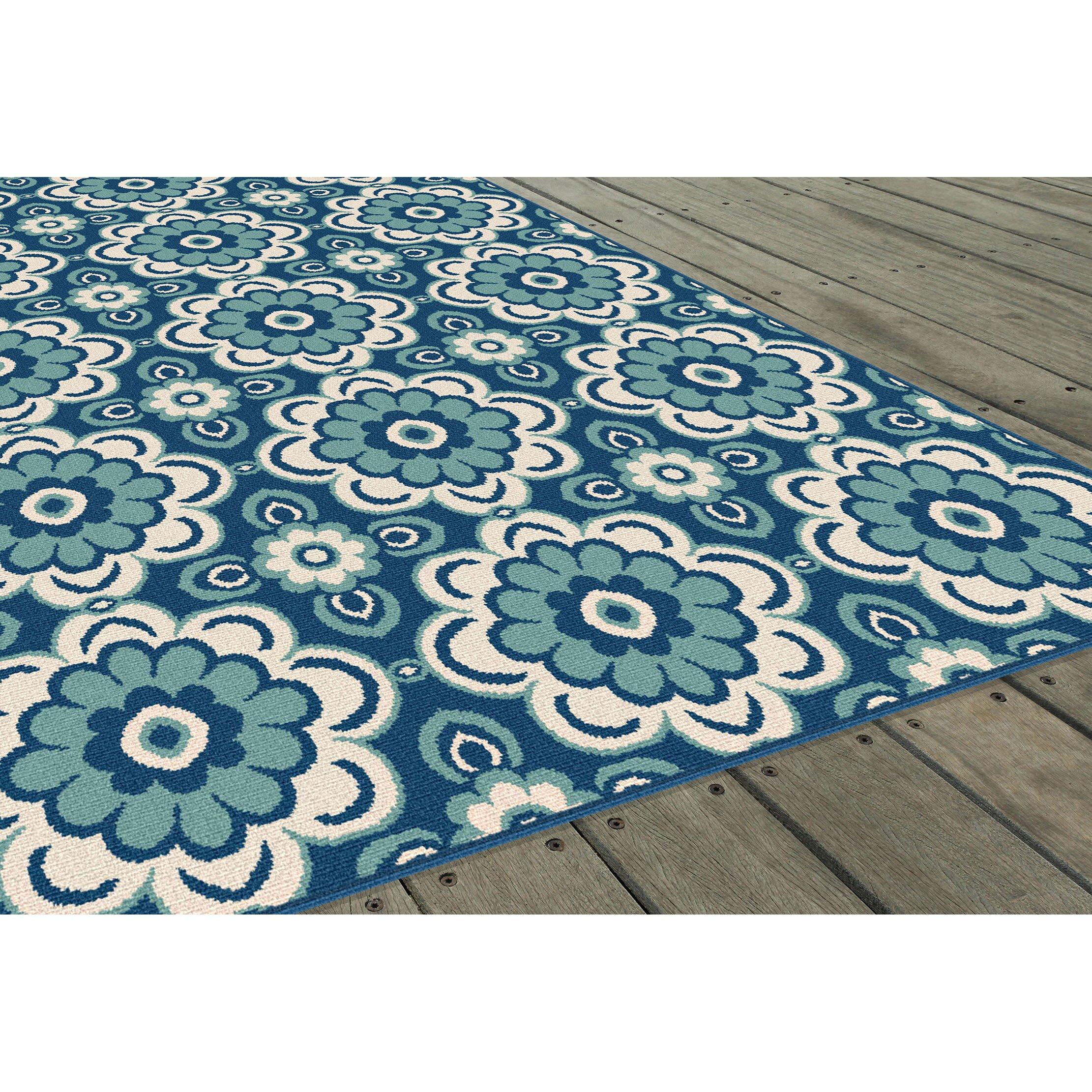 Threadbind Fairhaven Blue Indoor Outdoor Area Rug