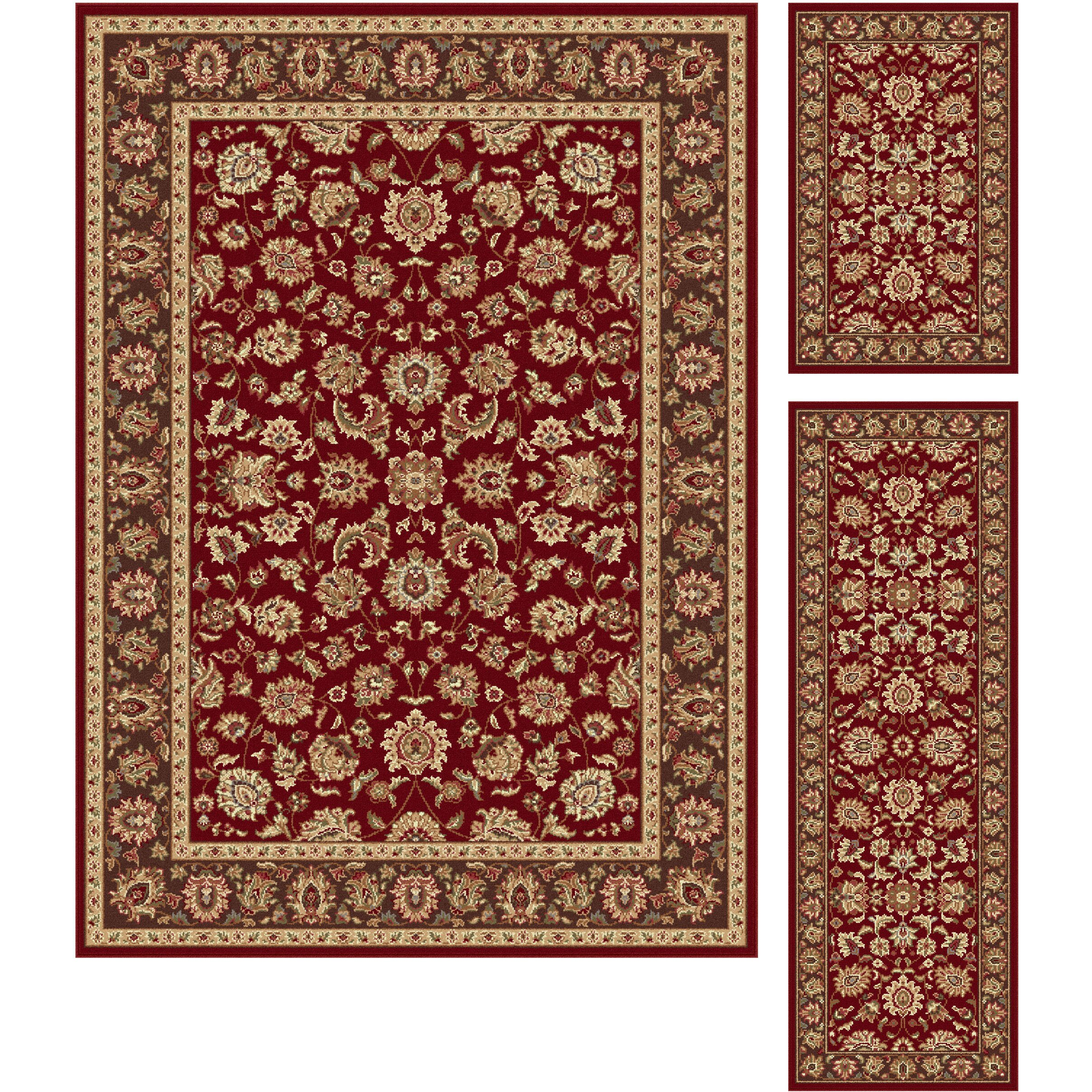 Threadbind litchford red 3 piece area rug set reviews for Area rug sets