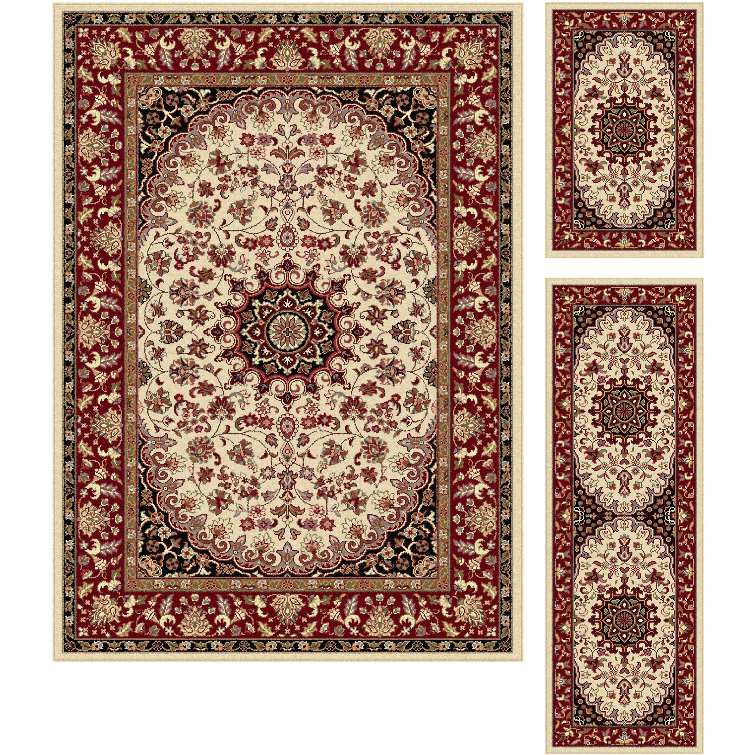 Threadbind litchford beige red 3 piece area rug set wayfair for Area rug sets
