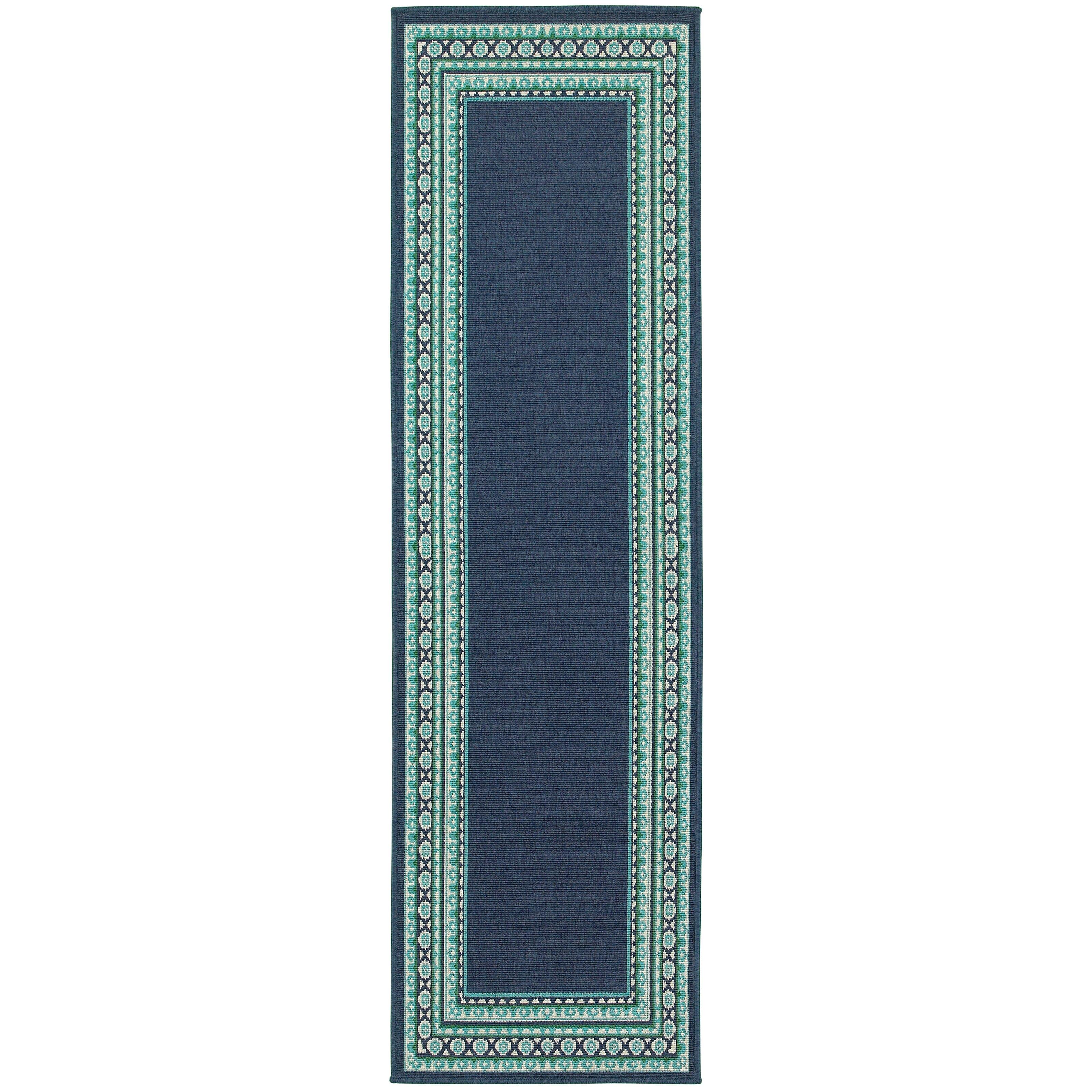 Green Navy Rug: Threadbind Cortlandt Navy/Green Indoor/Outdoor Area Rug
